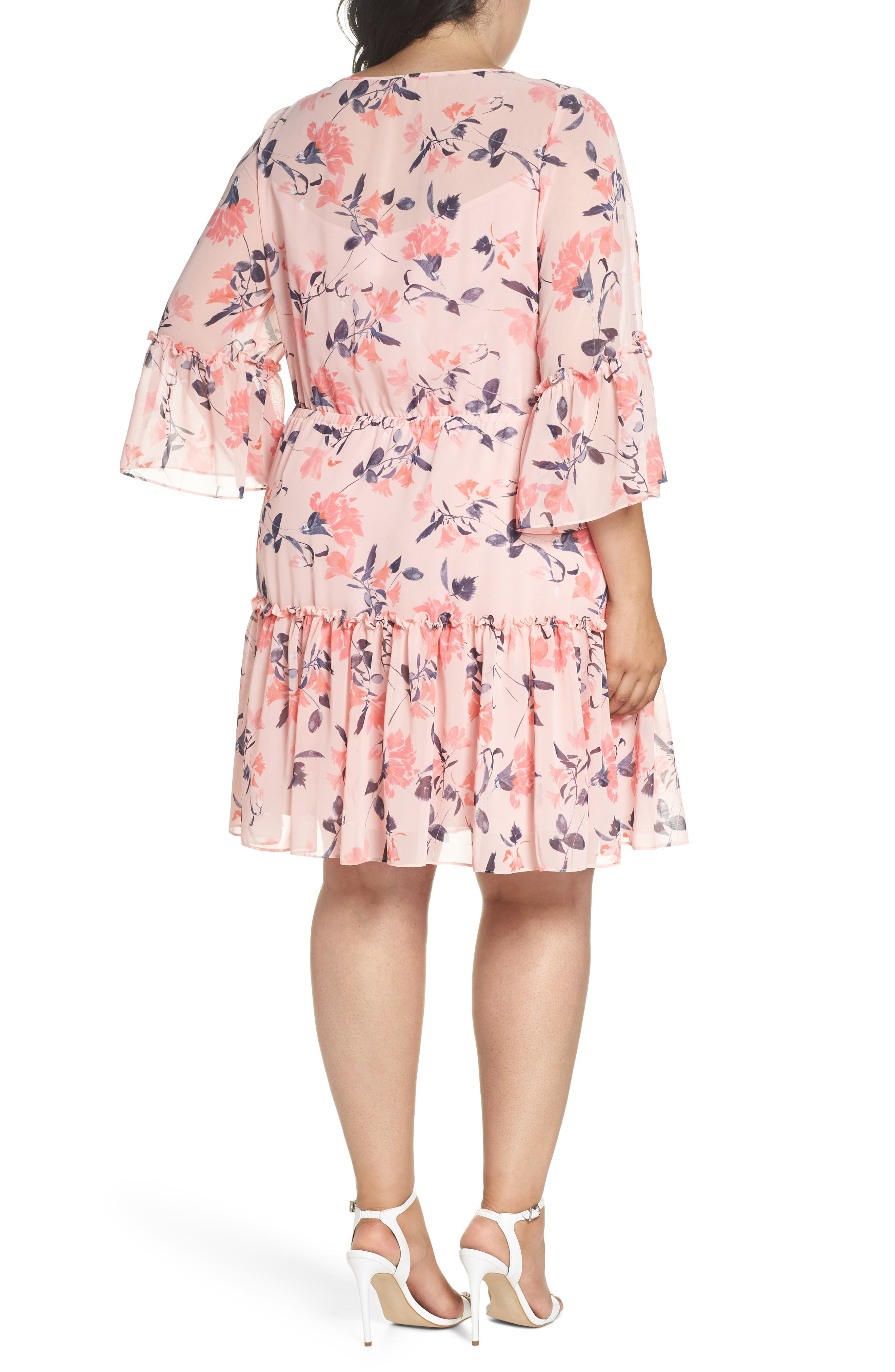 Elza J Floral Bell Sleeve Chiffon Dress,                             Alternate thumbnail 2, color,                             684
