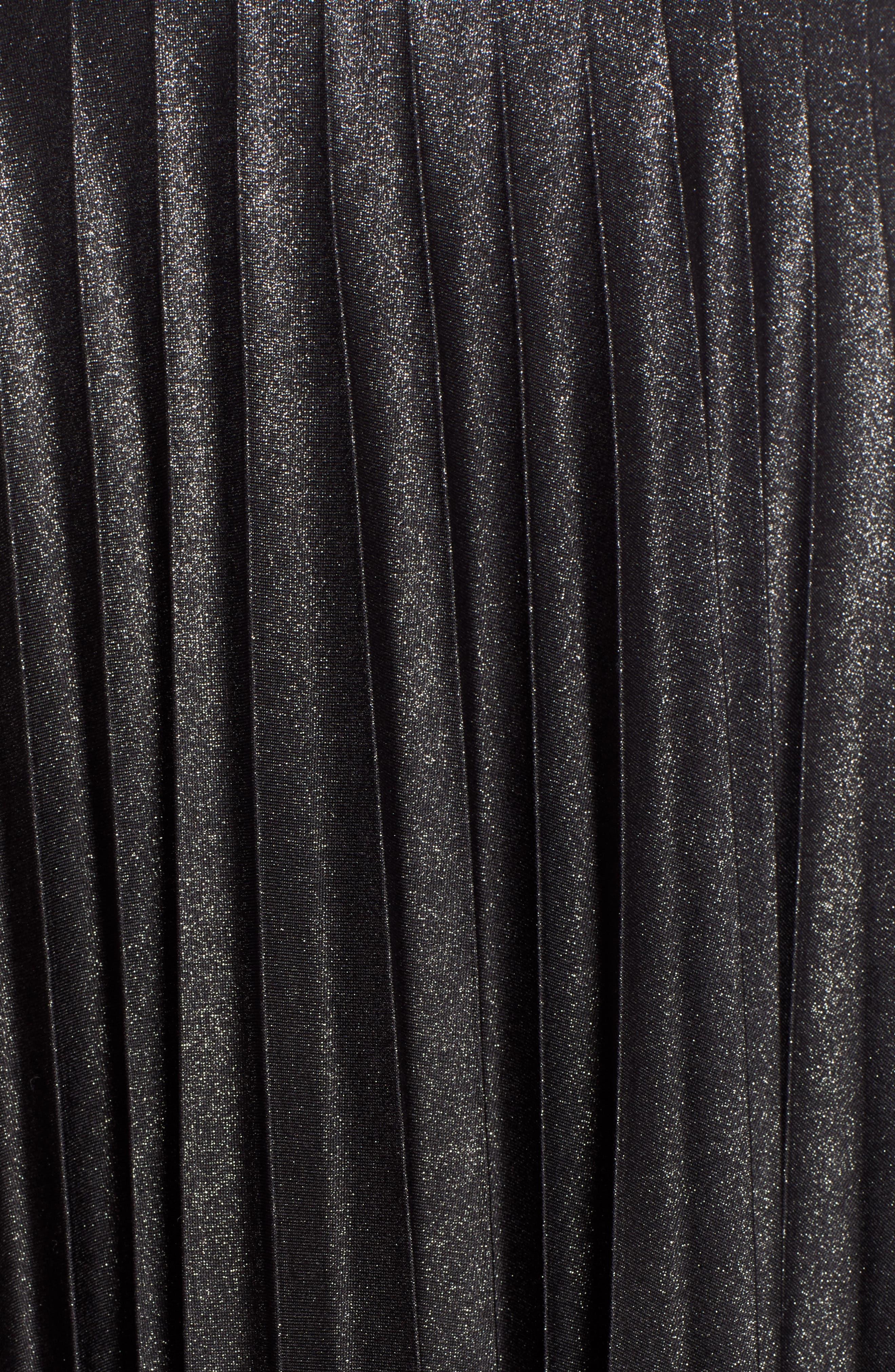 Metallic Pleat Midi Skirt,                             Alternate thumbnail 5, color,                             BLACK FOIL