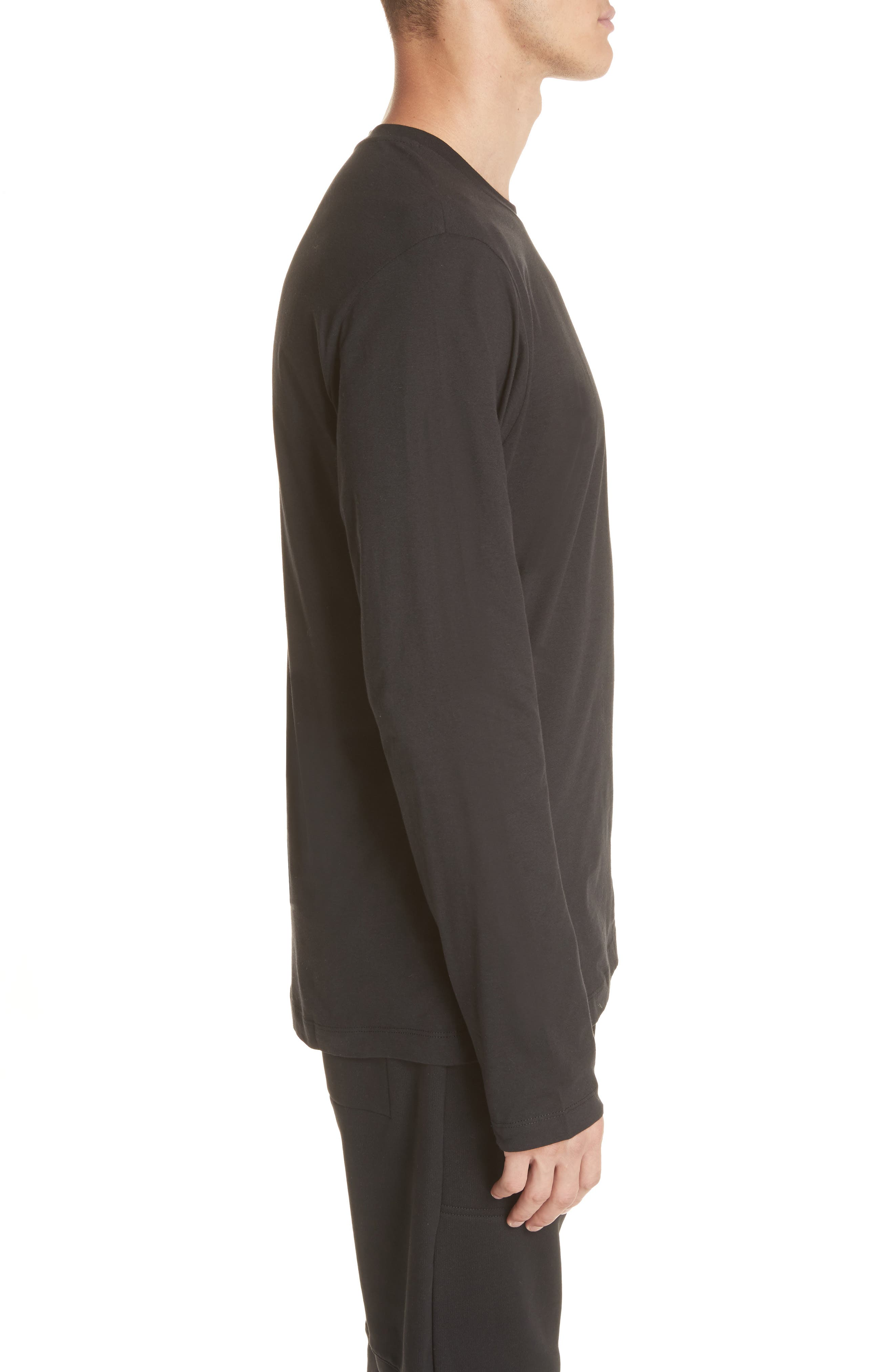 Cut Neck Long Sleeve T-Shirt,                             Alternate thumbnail 3, color,                             007