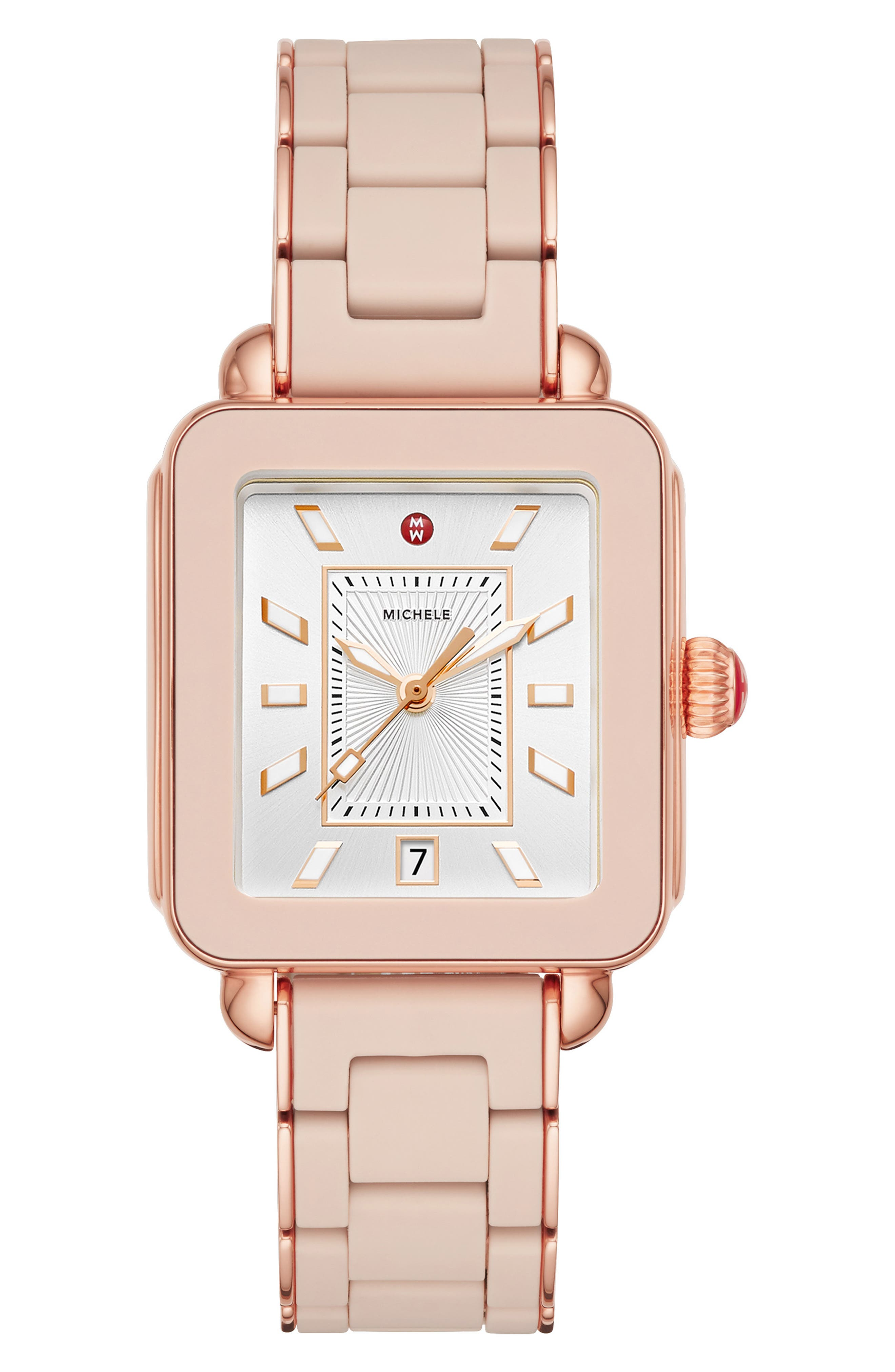 MICHELE Deco Sport Bracelet Watch, 34mm x 36mm, Main, color, PINK/ SILVER SUNRAY/ PINK GOLD