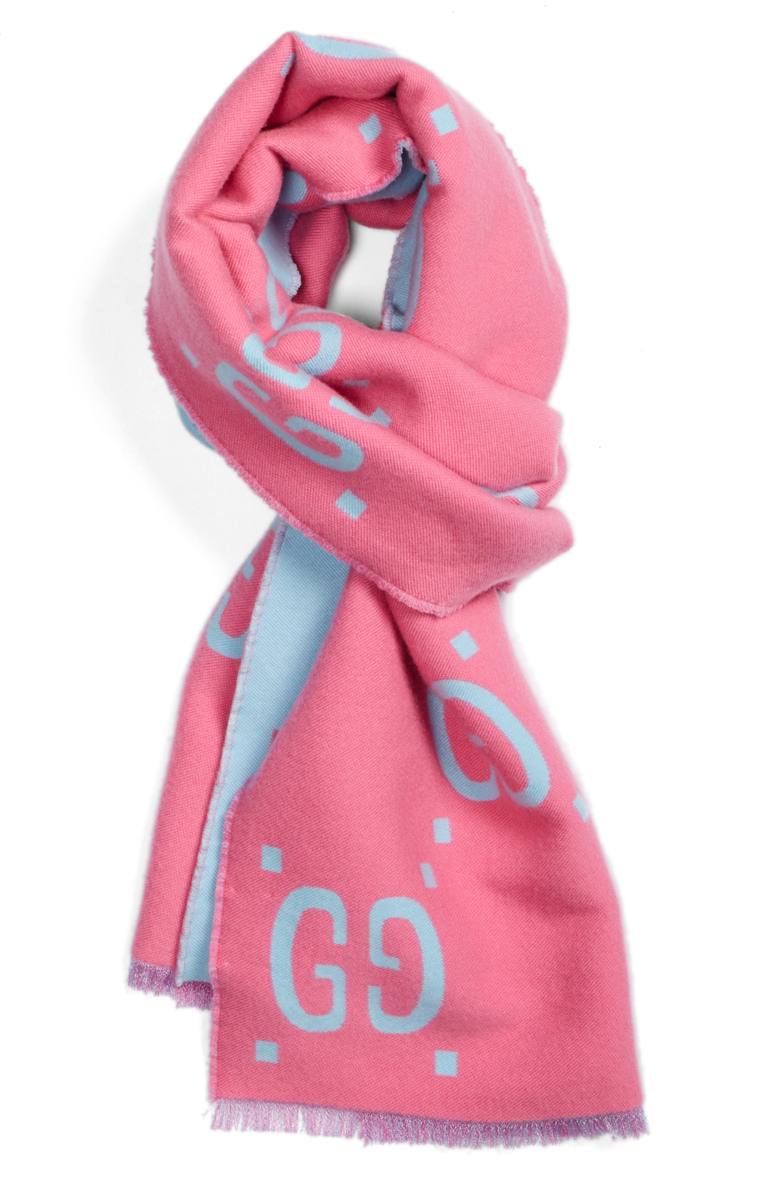 GG Freedom Wool & Silk Scarf,                             Alternate thumbnail 3, color,                             400