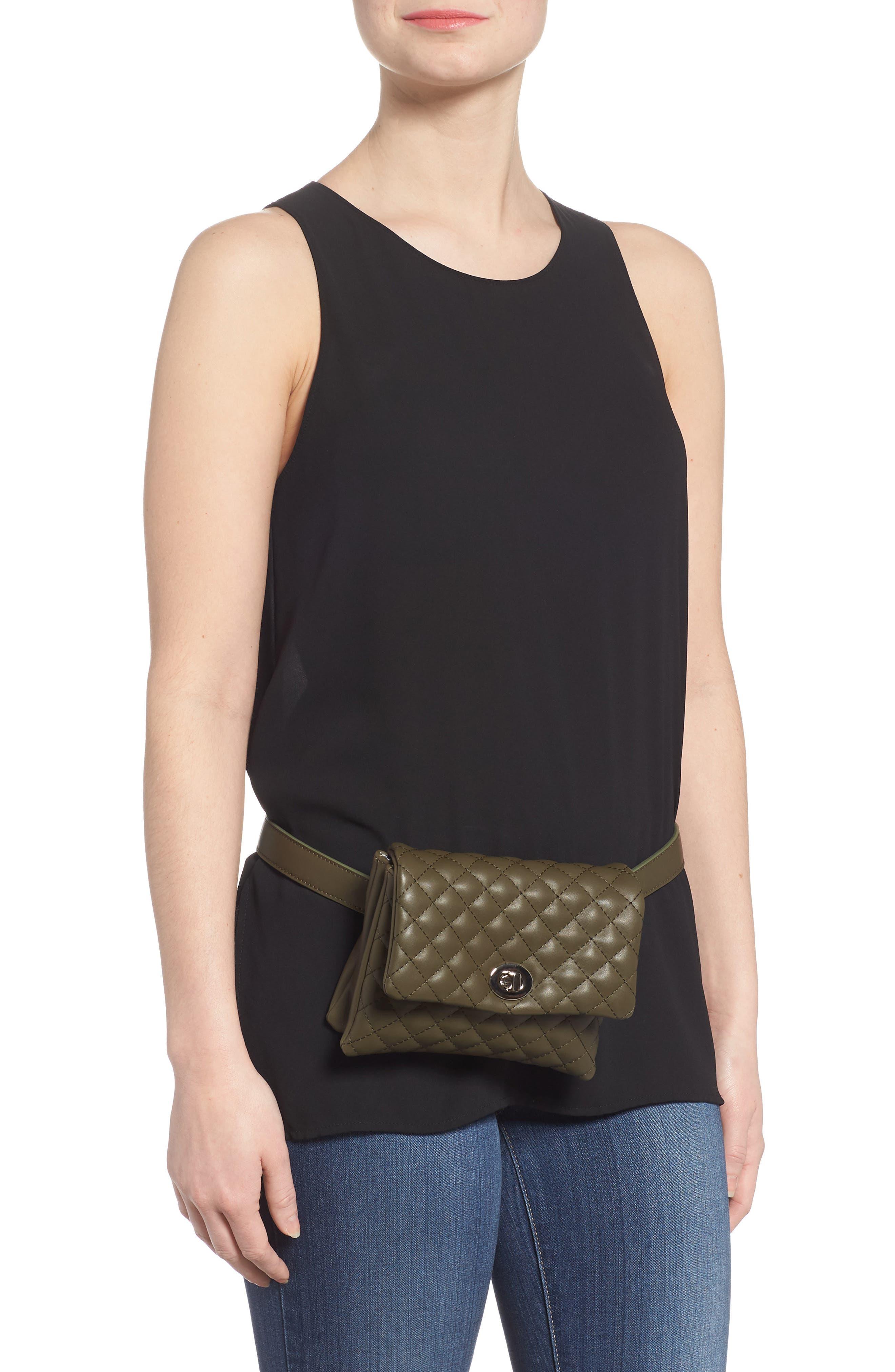 Mali + Lili Quilted Vegan Leather Convertible Belt Bag,                             Alternate thumbnail 2, color,                             OLIVE