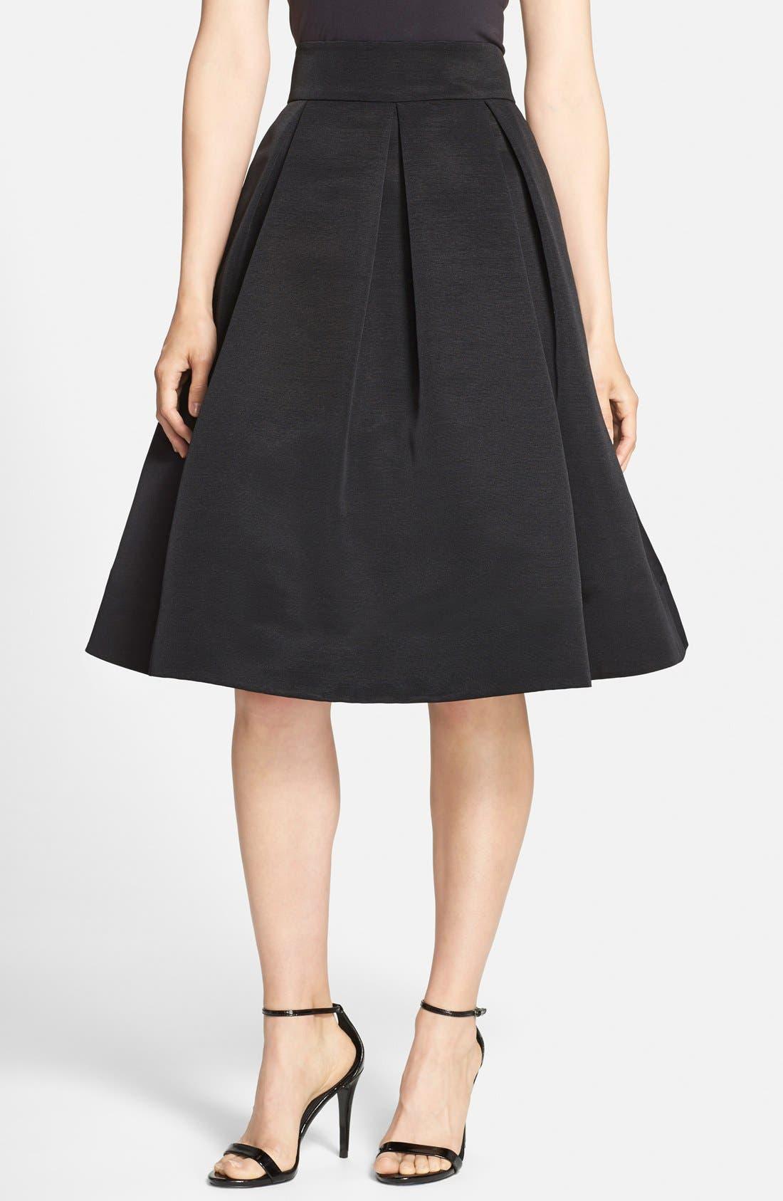 ELIZA J,                             Faille Midi Skirt,                             Main thumbnail 1, color,                             001