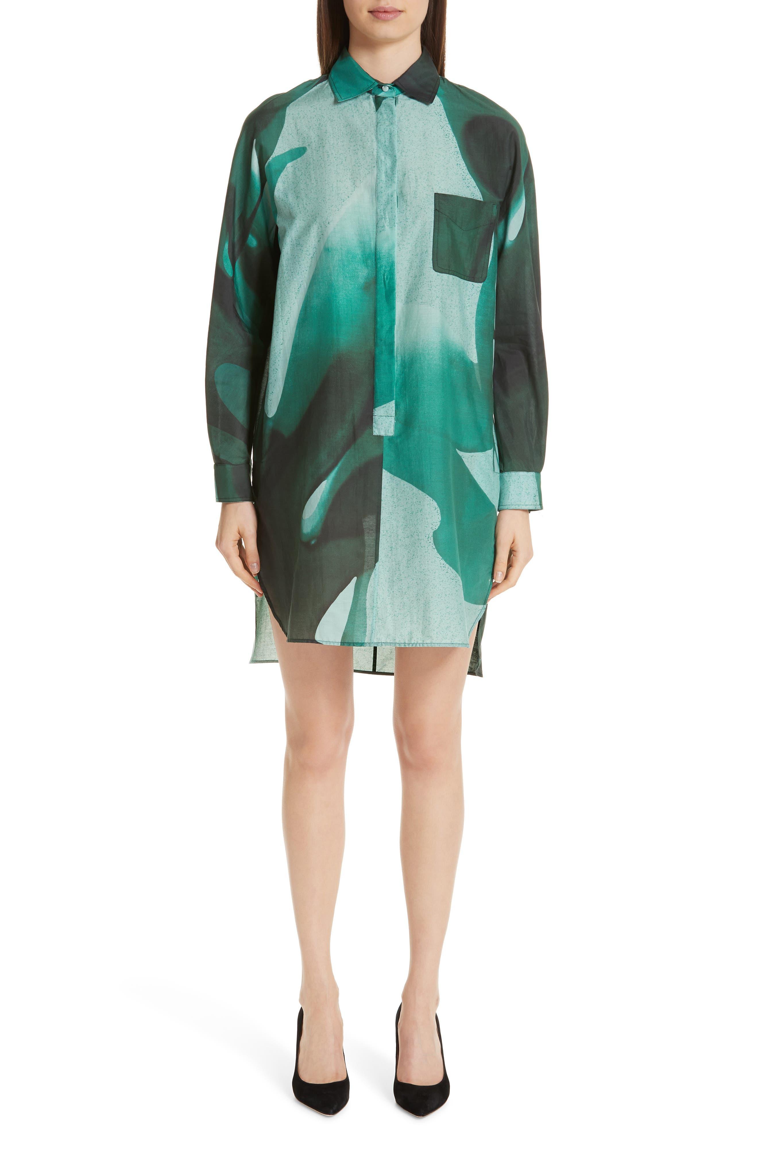 Max Mara Firenze Long Sleeve Cotton & Silk Dress, Blue