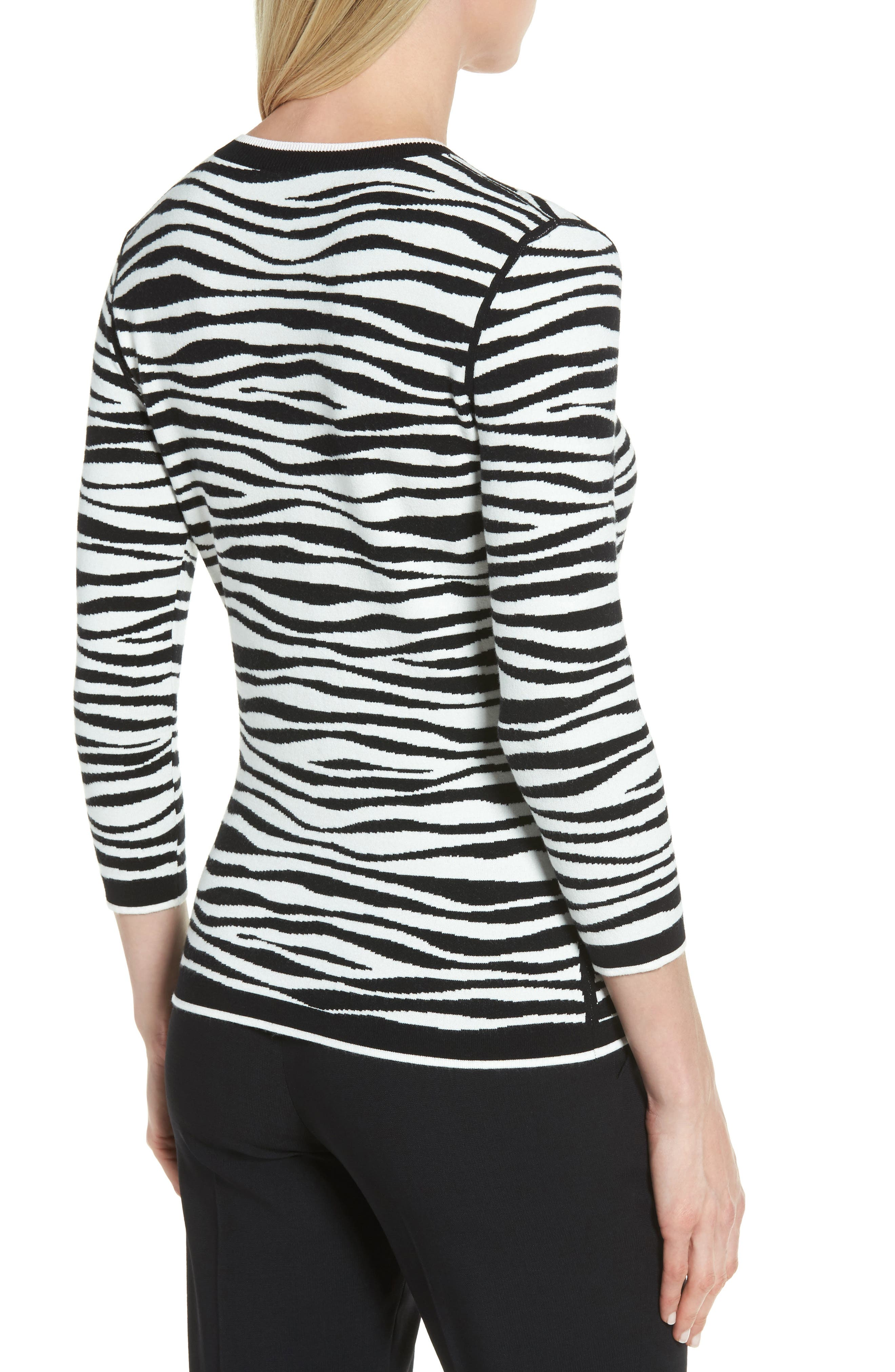 Fatima Zebra Stripe Sweater,                             Alternate thumbnail 2, color,                             006