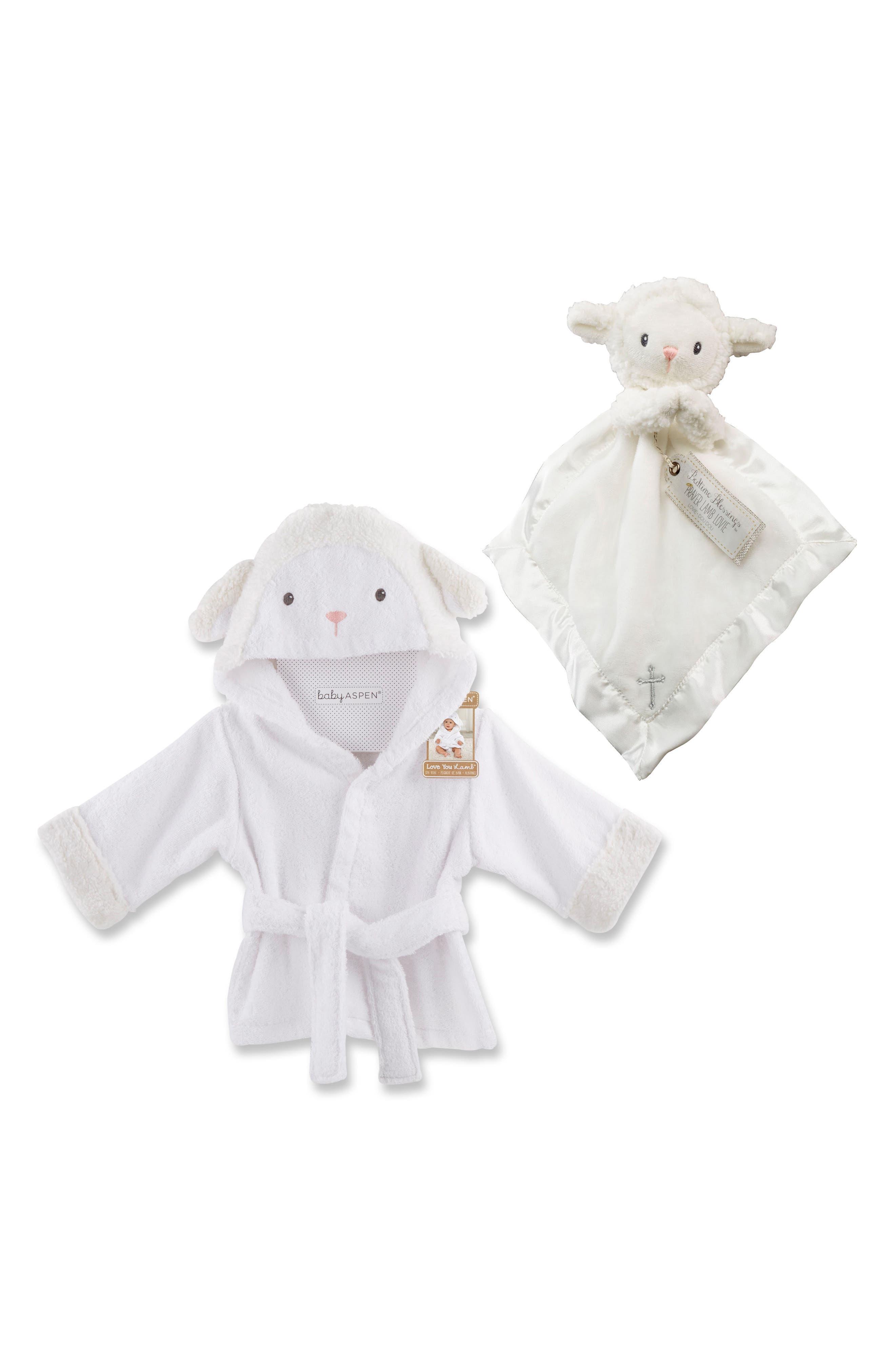 Lamb Hooded Robe & Blanket,                         Main,                         color, WHITE