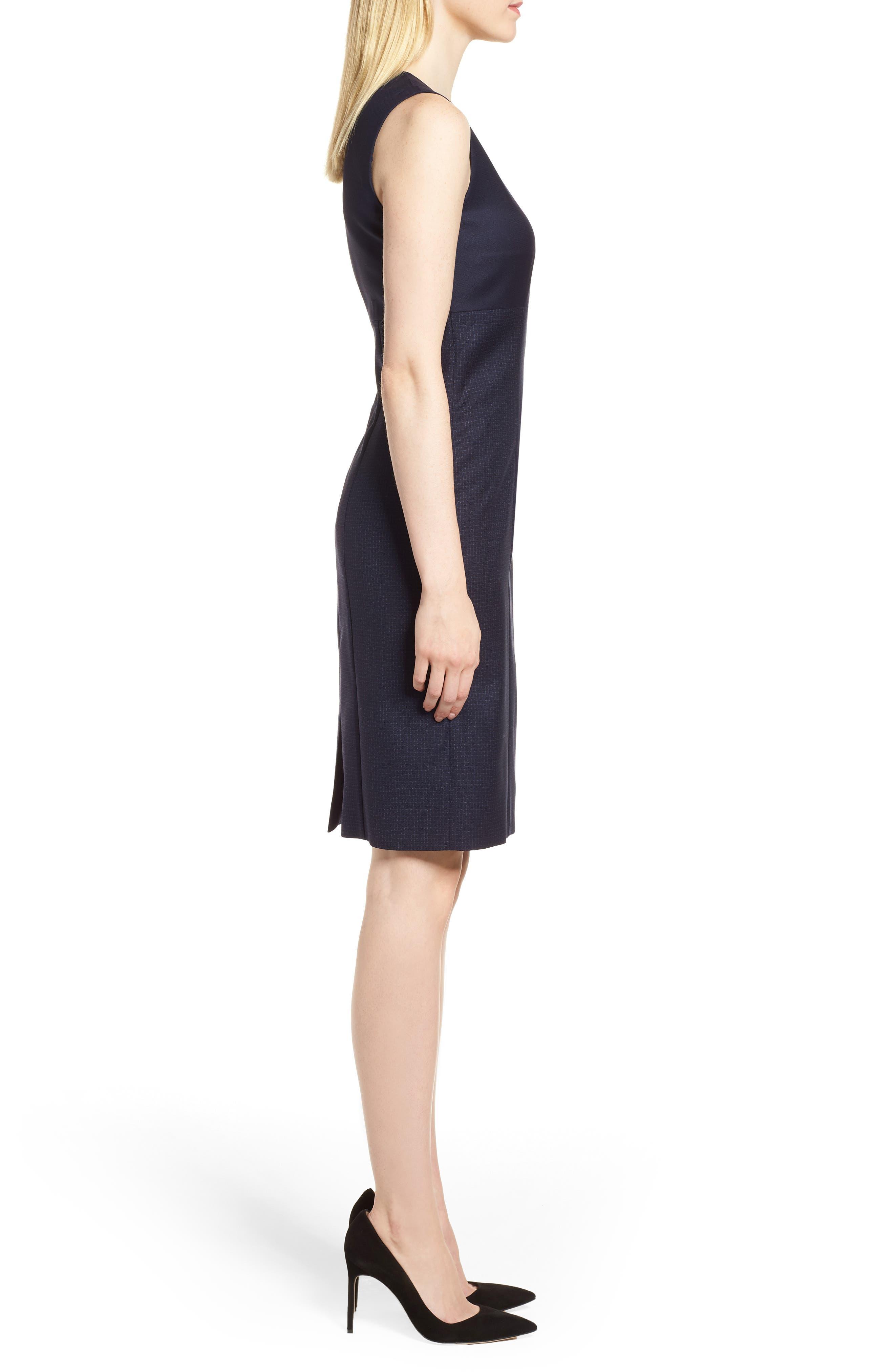 Dibena Windowpane Sheath Dress,                             Alternate thumbnail 3, color,                             462