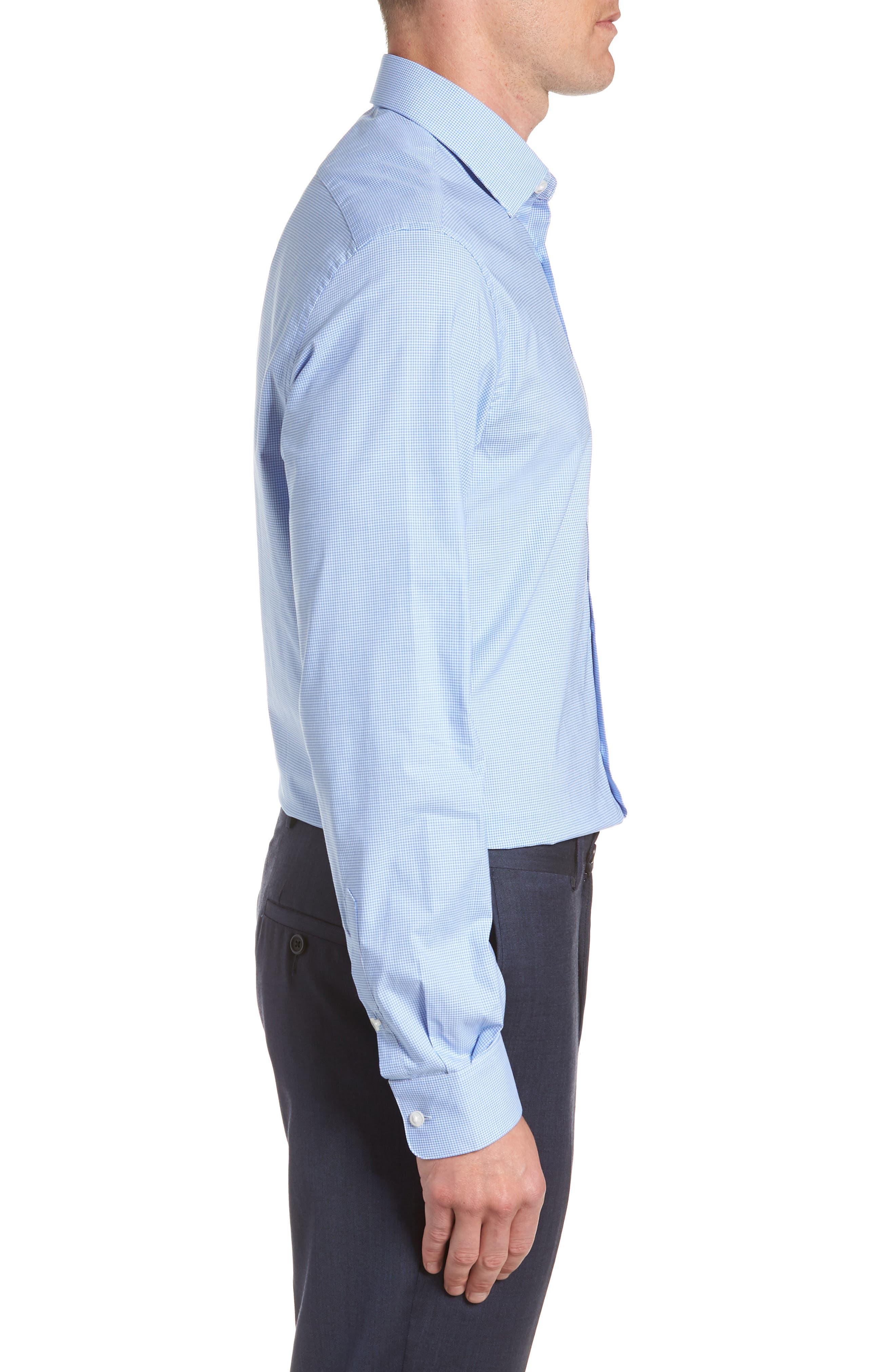 Microcheck Regular Fit Dress Shirt,                             Alternate thumbnail 4, color,                             OCEAN BLUE