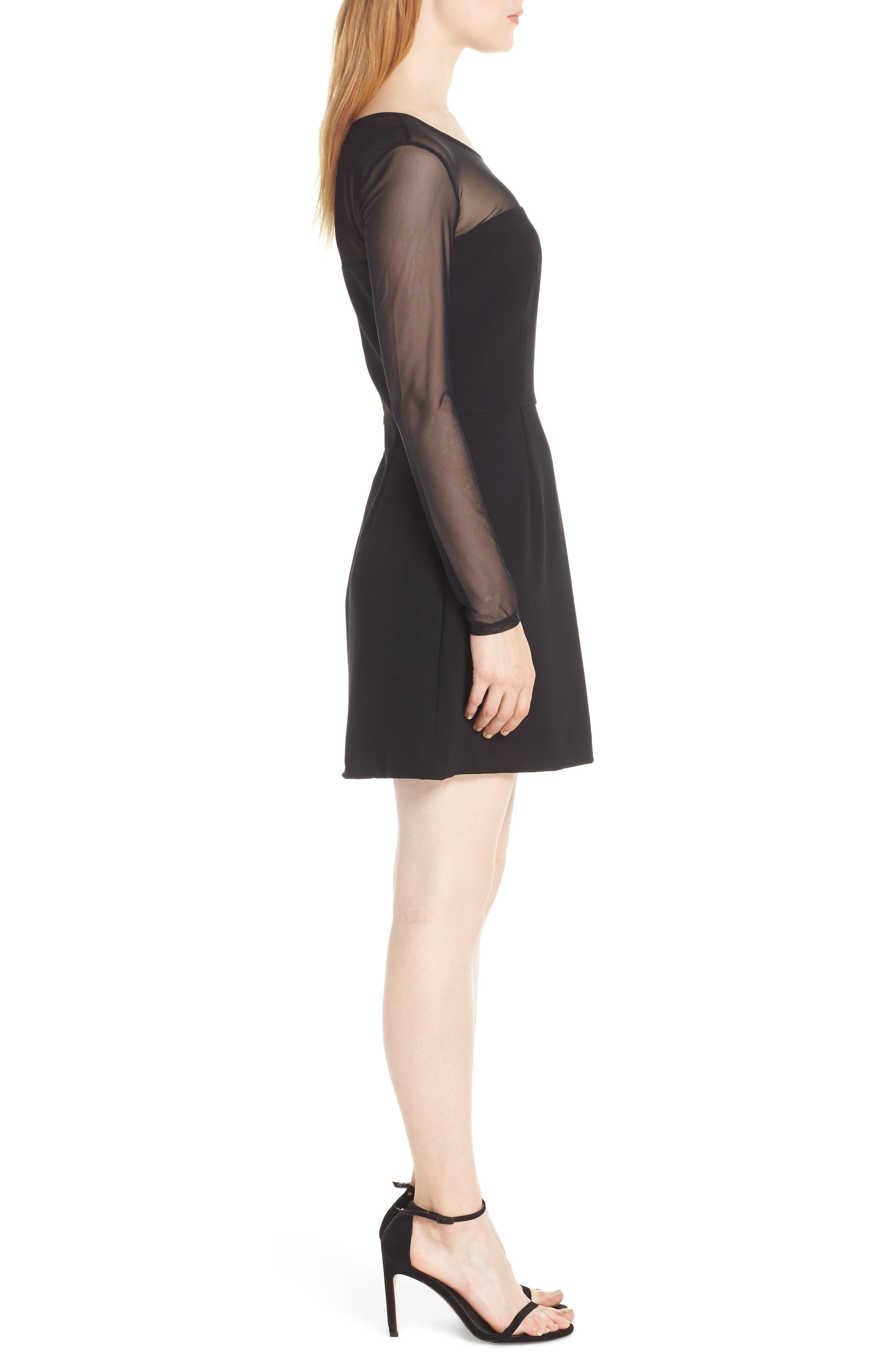 FRENCH CONNECTION,                             Whisper Light Mesh Sleeve Dress,                             Alternate thumbnail 3, color,                             BLACK