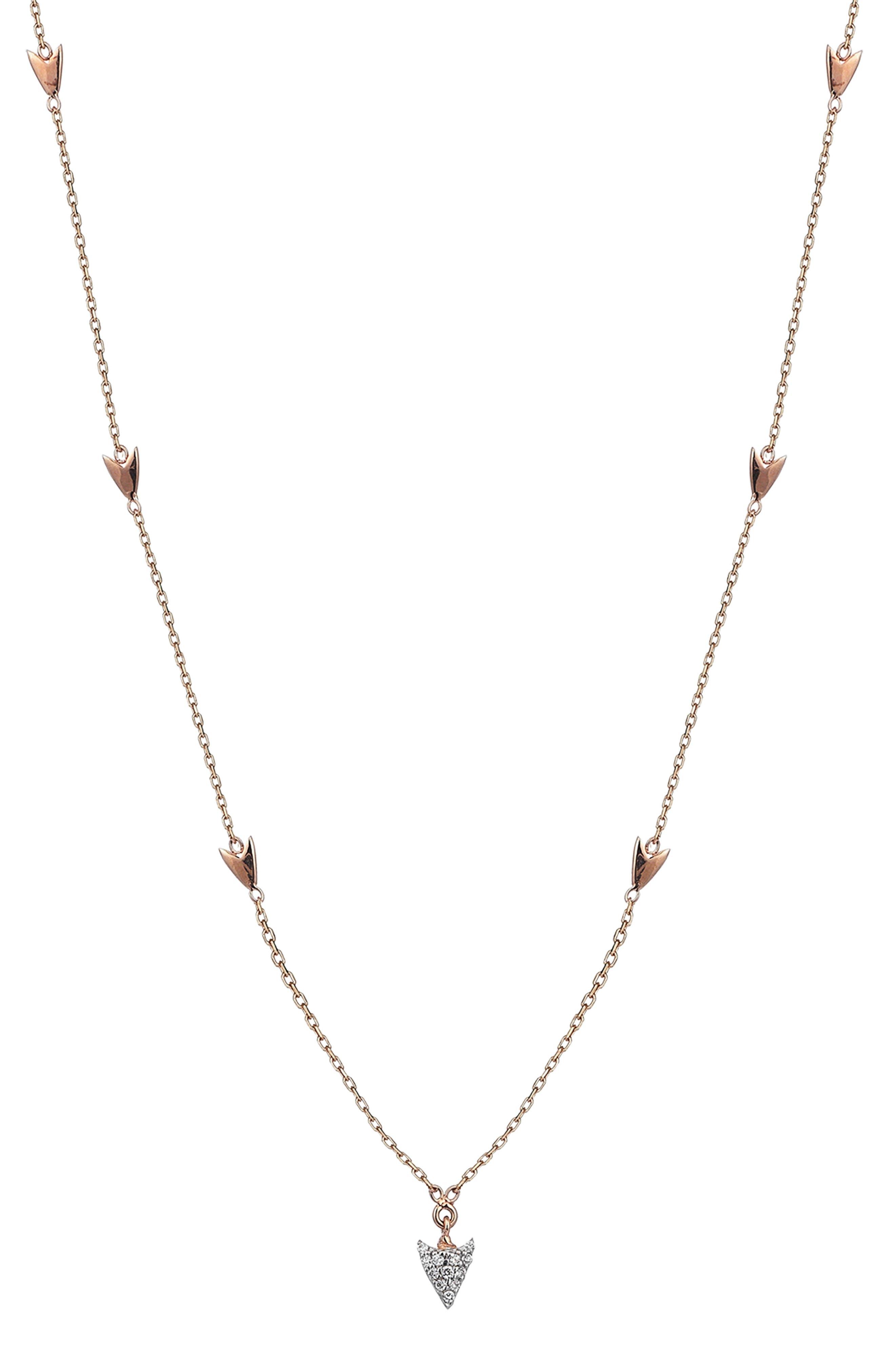 Diamond Arrow Station Necklace,                             Main thumbnail 1, color,                             ROSE GOLD/ DIAMOND