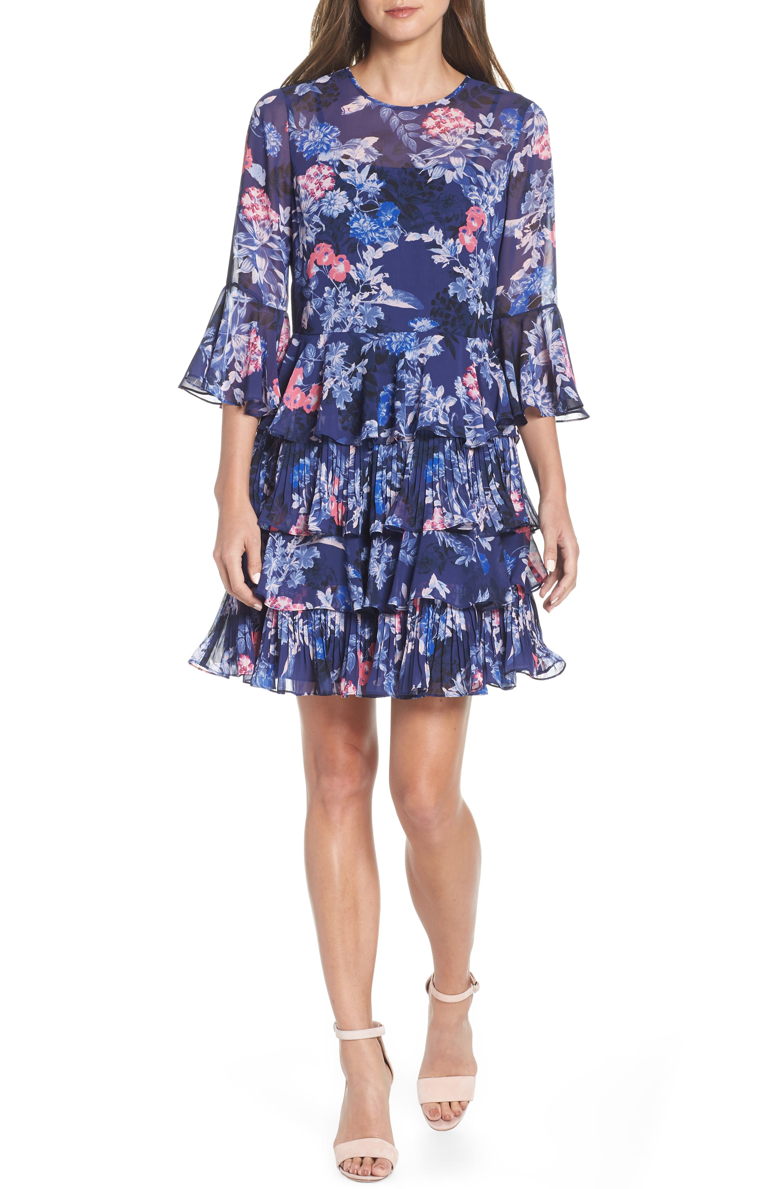 Bell Sleeve Tiered Minidress, Main, color, NAVY