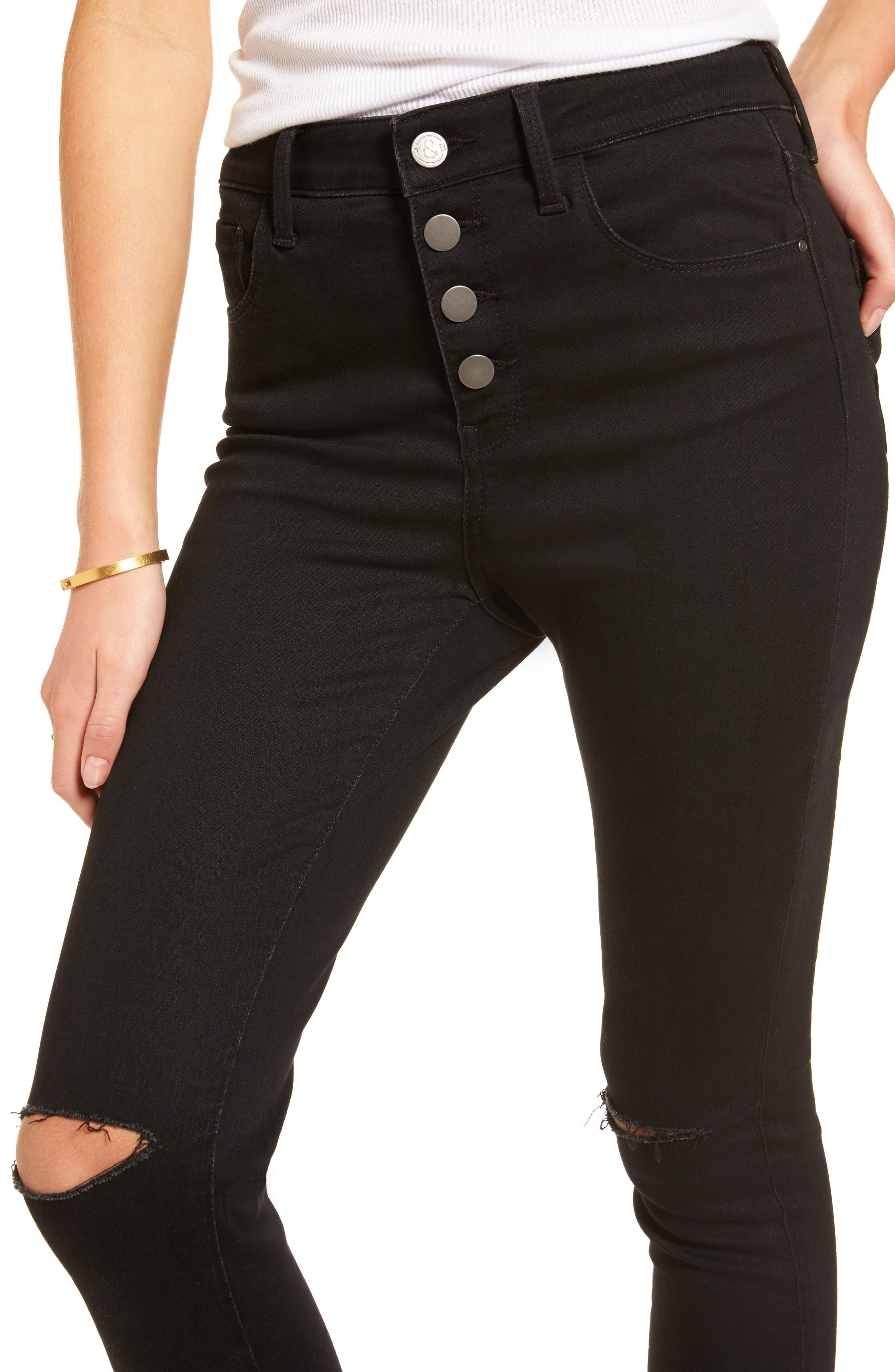 High Waist Skinny Jeans,                             Alternate thumbnail 4, color,