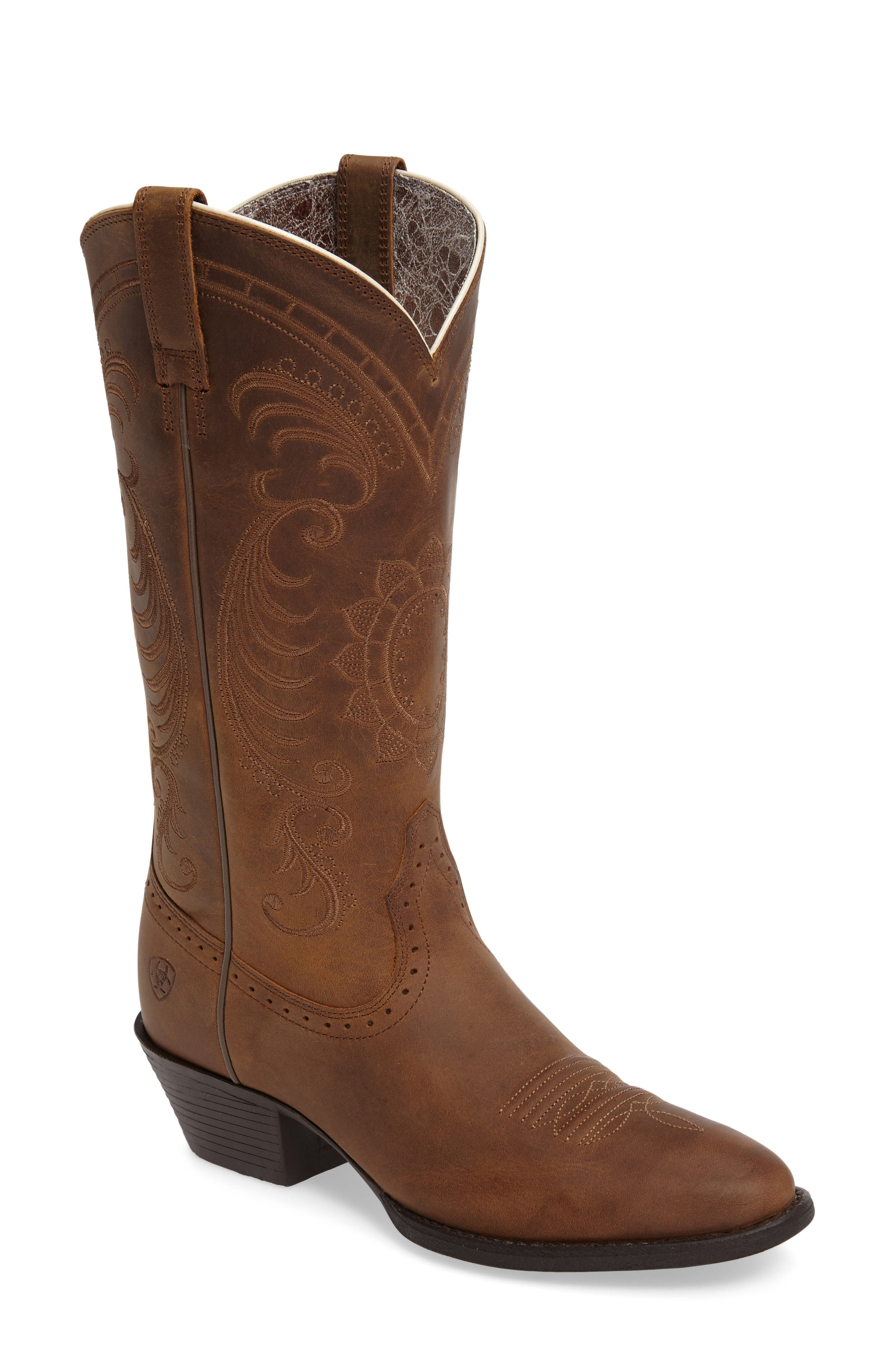 New West Collection - Magnolia Western Boot,                             Main thumbnail 1, color,                             DISTRESSED BROWN LEATHER