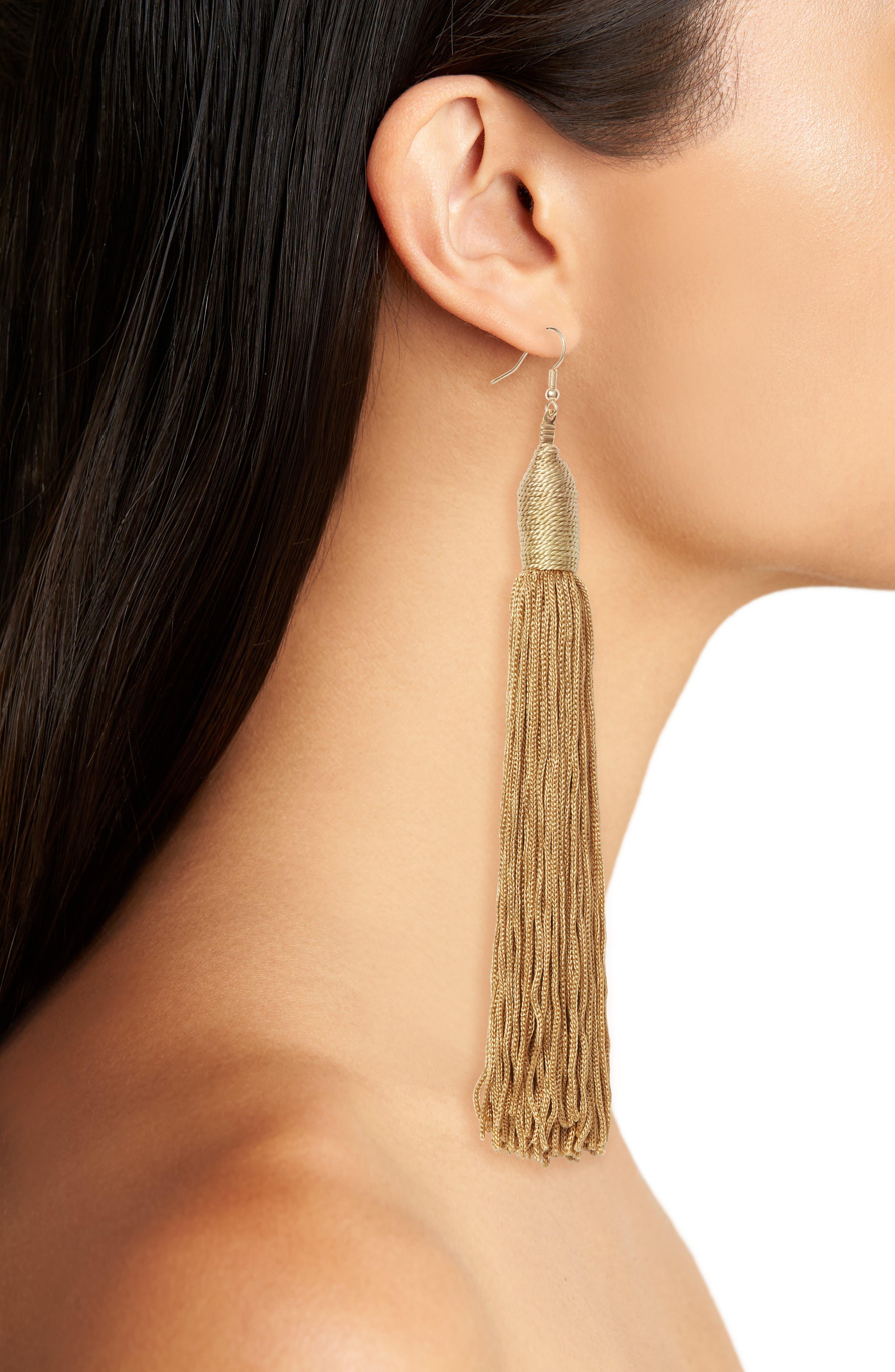Fabric Tassel Shoulder Duster Earrings,                             Alternate thumbnail 2, color,                             710