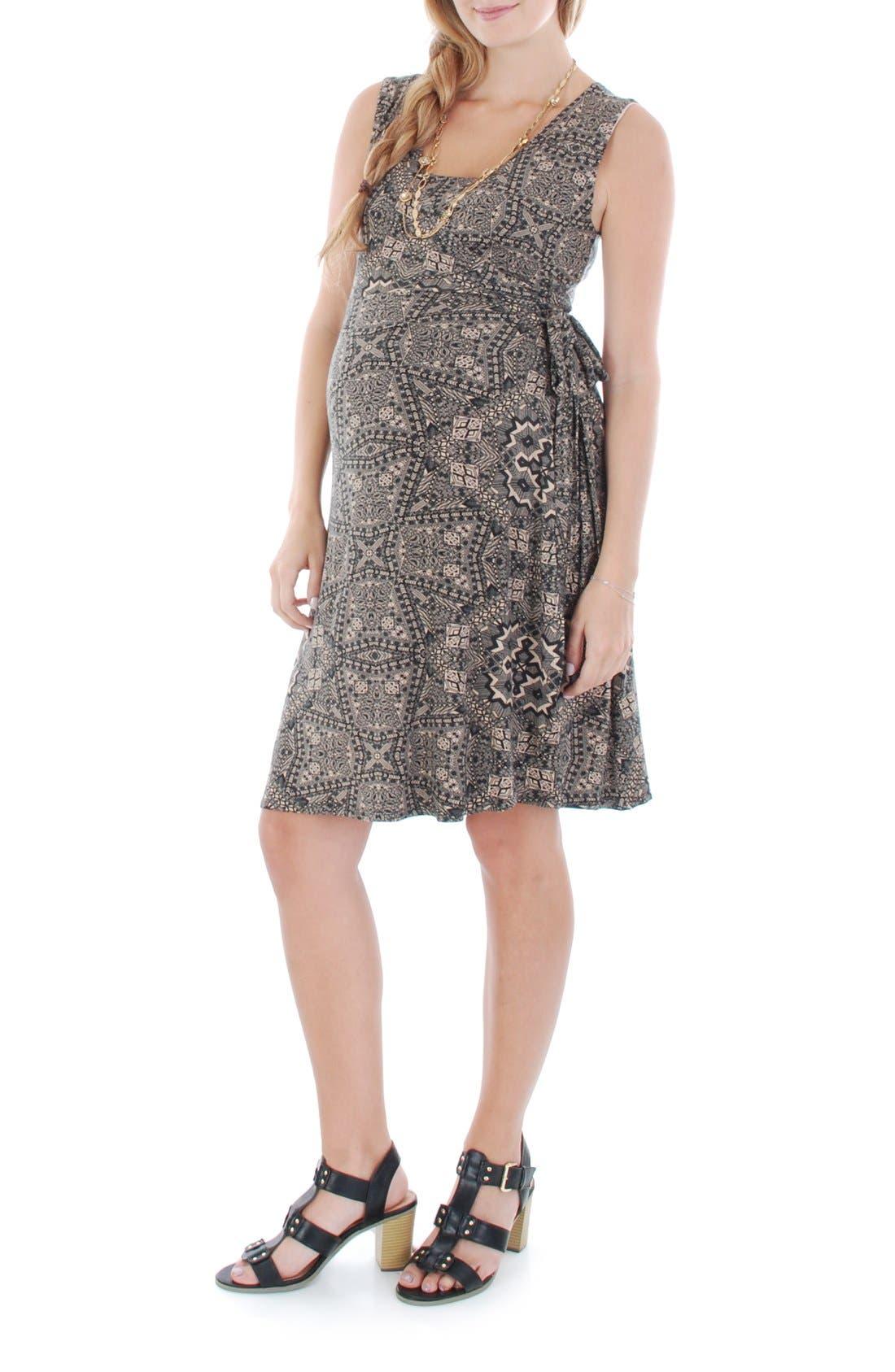 'Tania' Sleeveless Maternity/Nursing Wrap Dress,                             Main thumbnail 1, color,                             HENNA