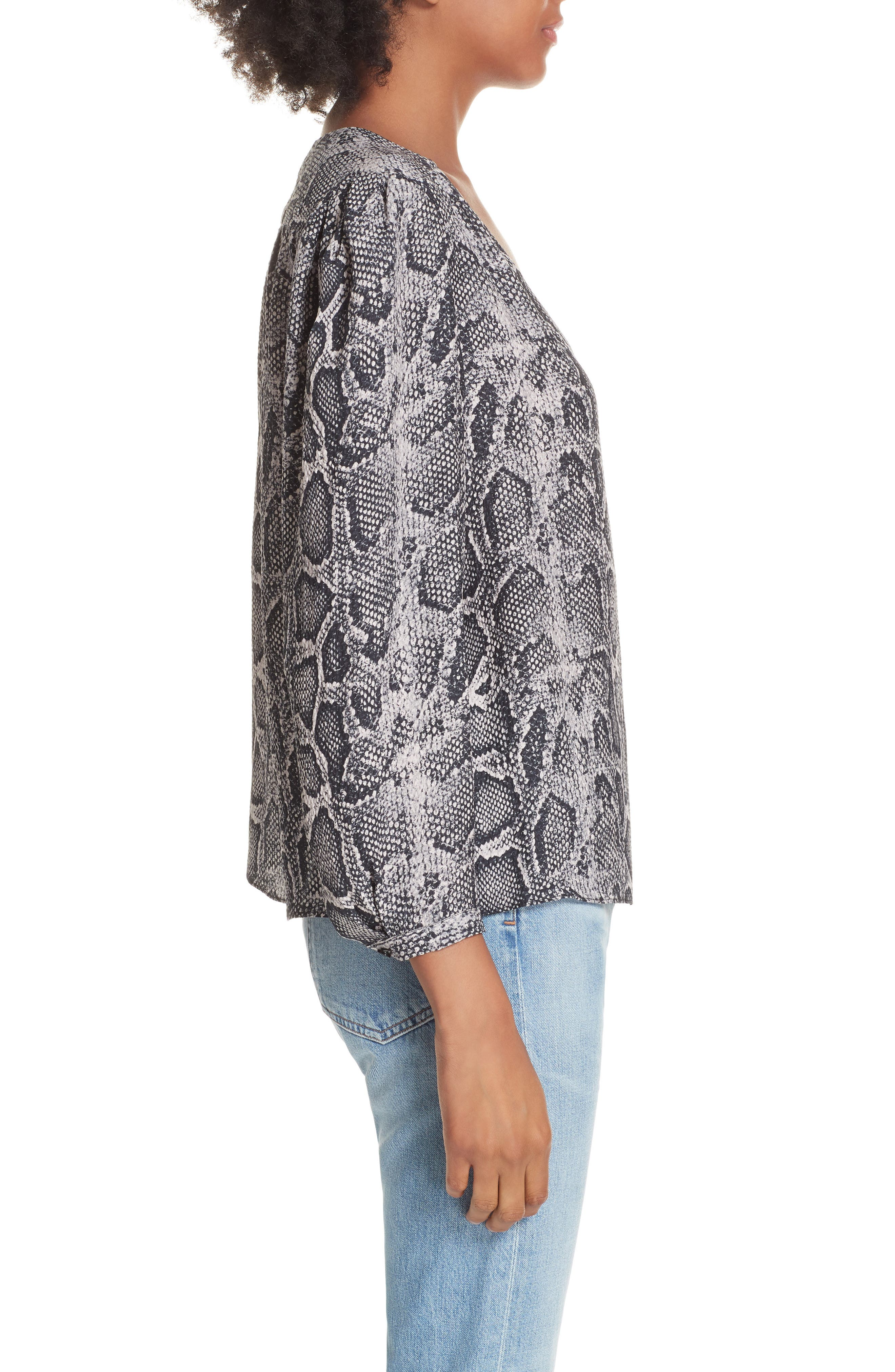 Snake Print Top,                             Alternate thumbnail 3, color,                             WASHED BLACK COMBO