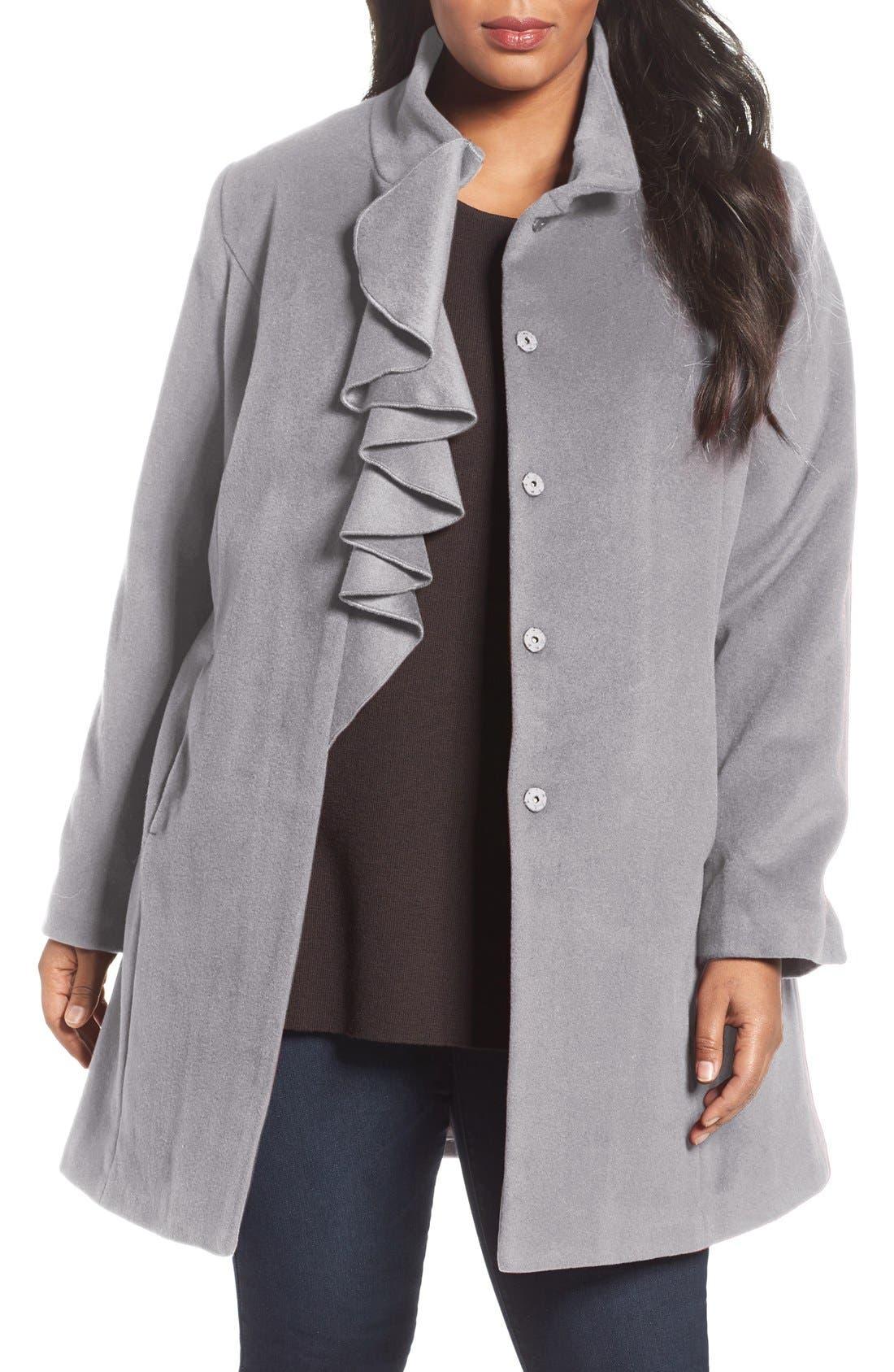 Kate Ruffle Wool Blend Coat,                             Main thumbnail 4, color,