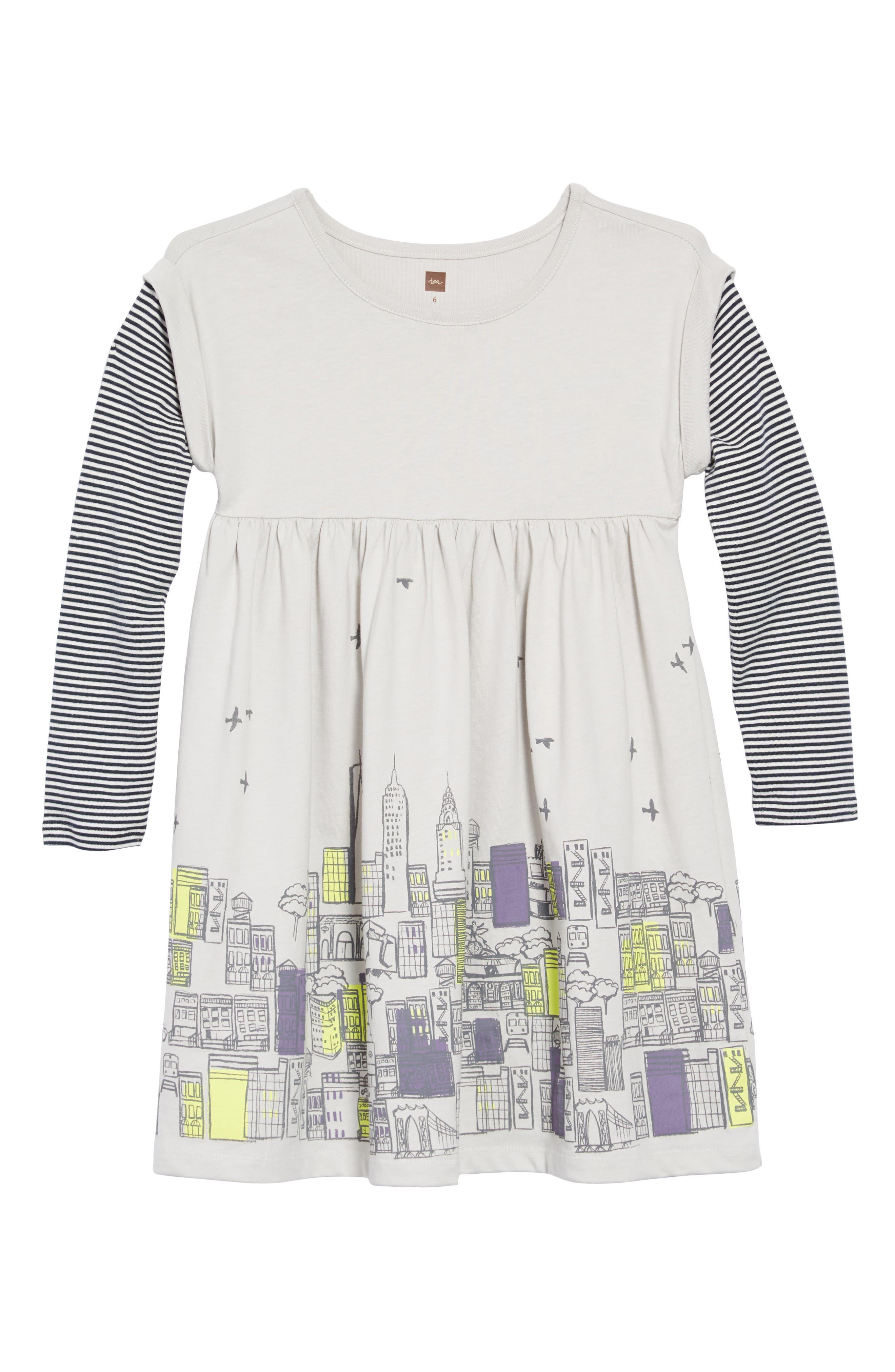 Layered Sleeve Dress,                             Main thumbnail 1, color,                             057