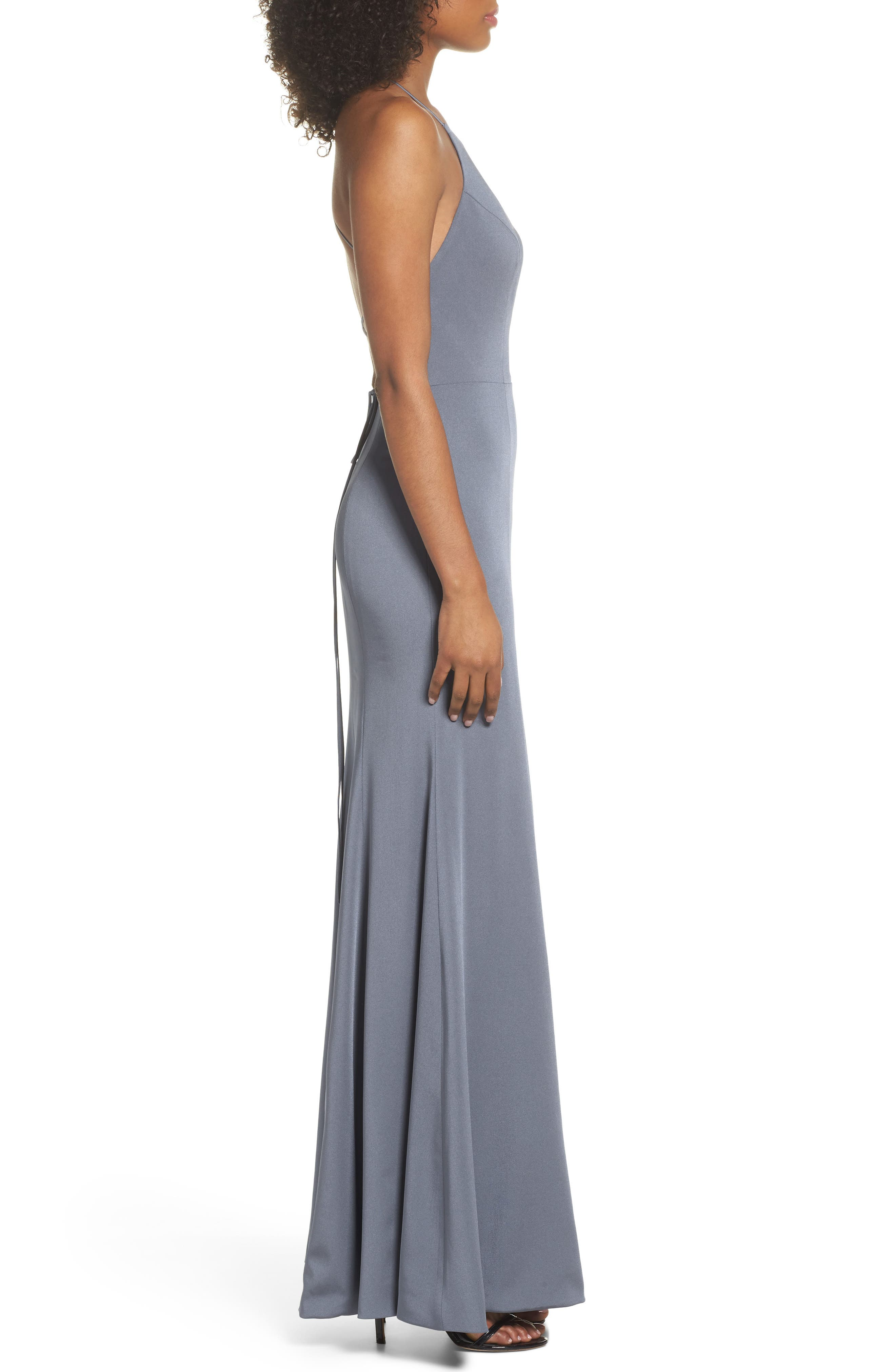 Naomi Luxe Crepe Halter Gown,                             Alternate thumbnail 3, color,                             HYDRANGEA