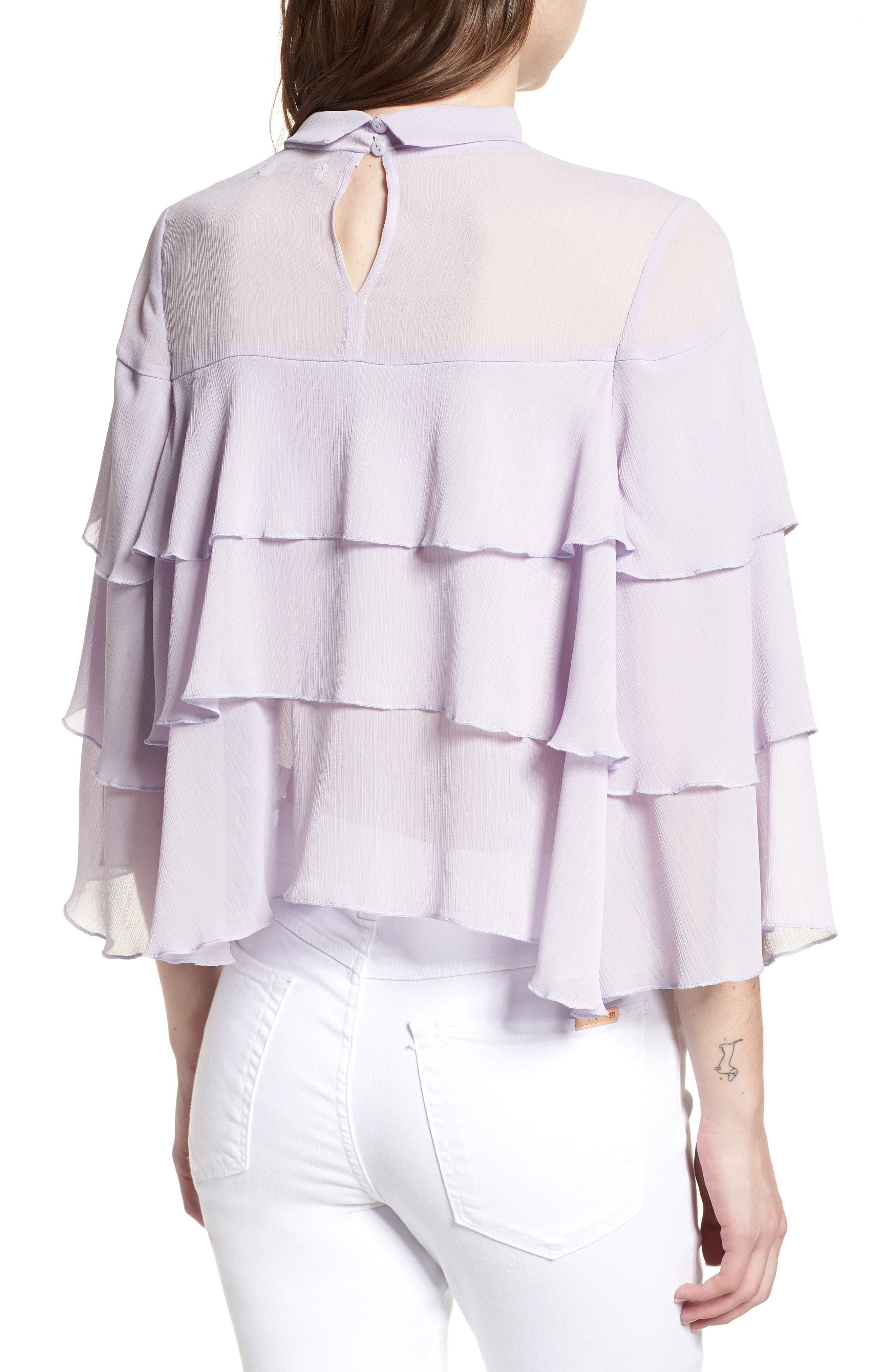 Bishop + Young Tiered Ruffle Blouse,                             Alternate thumbnail 2, color,                             LILAC