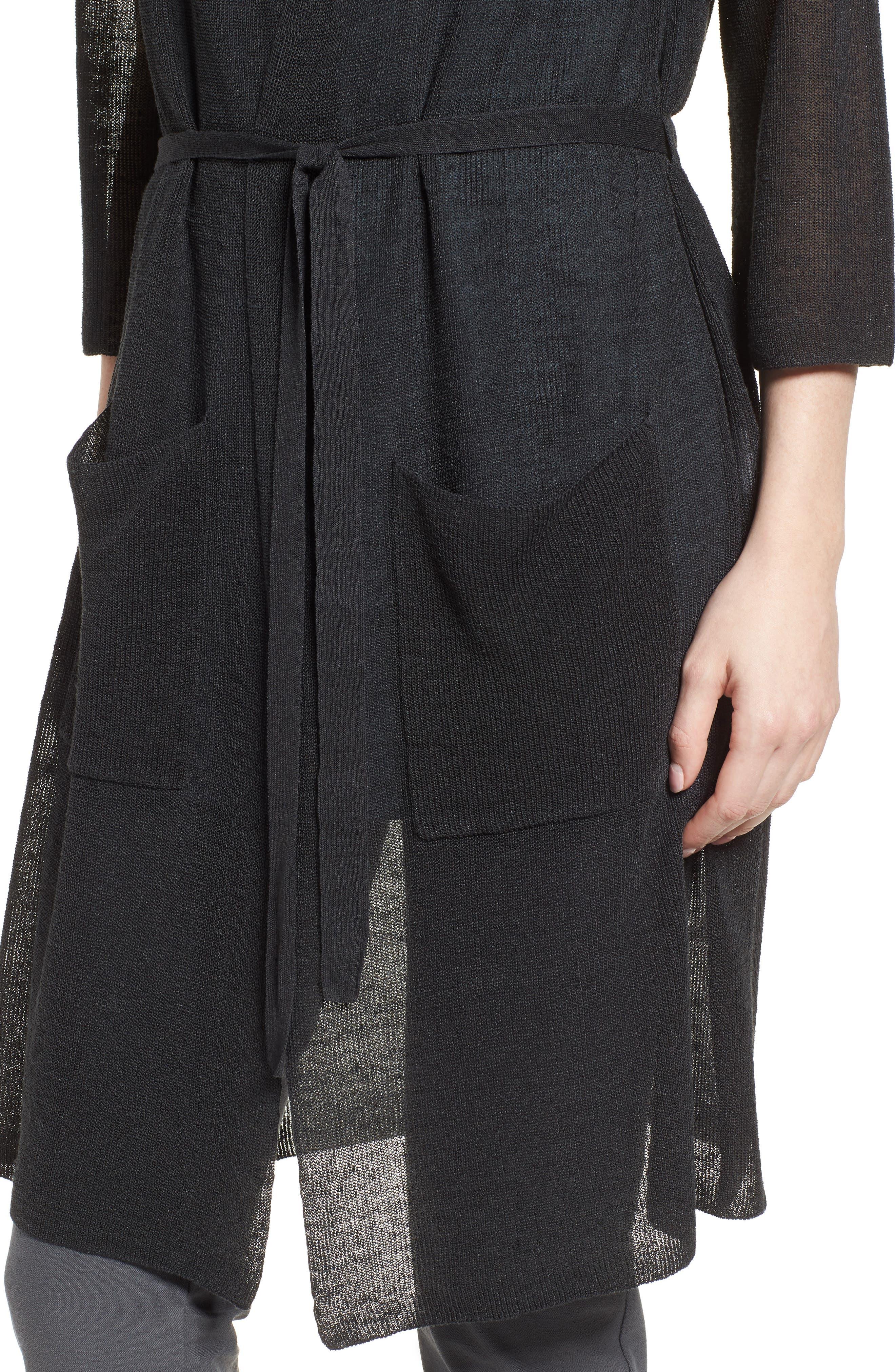 Long Organic Linen Blend Kimono Cardigan,                             Alternate thumbnail 4, color,                             025