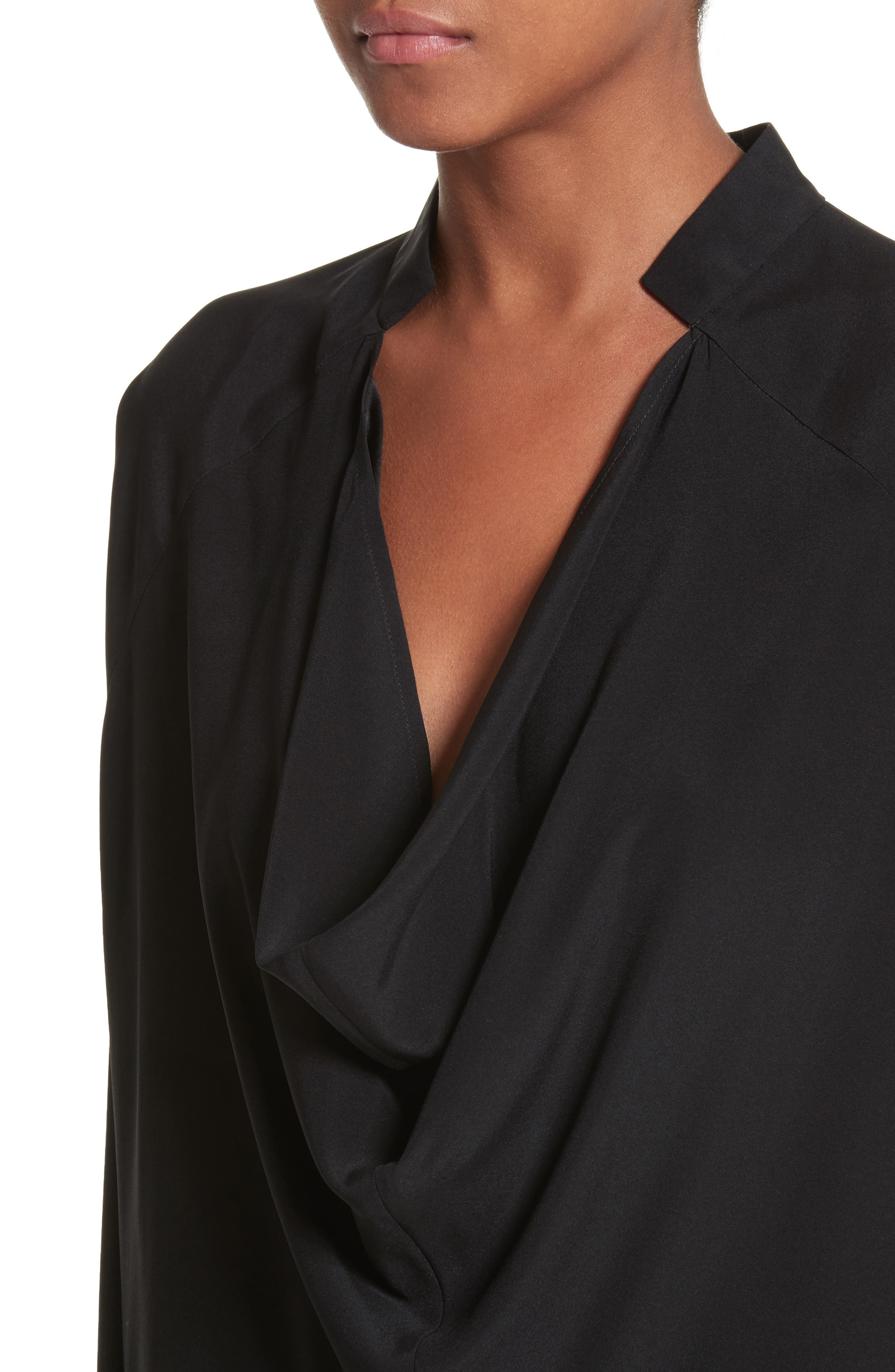 Drape Neck Stretch Silk Blouse,                             Alternate thumbnail 4, color,                             BLACK