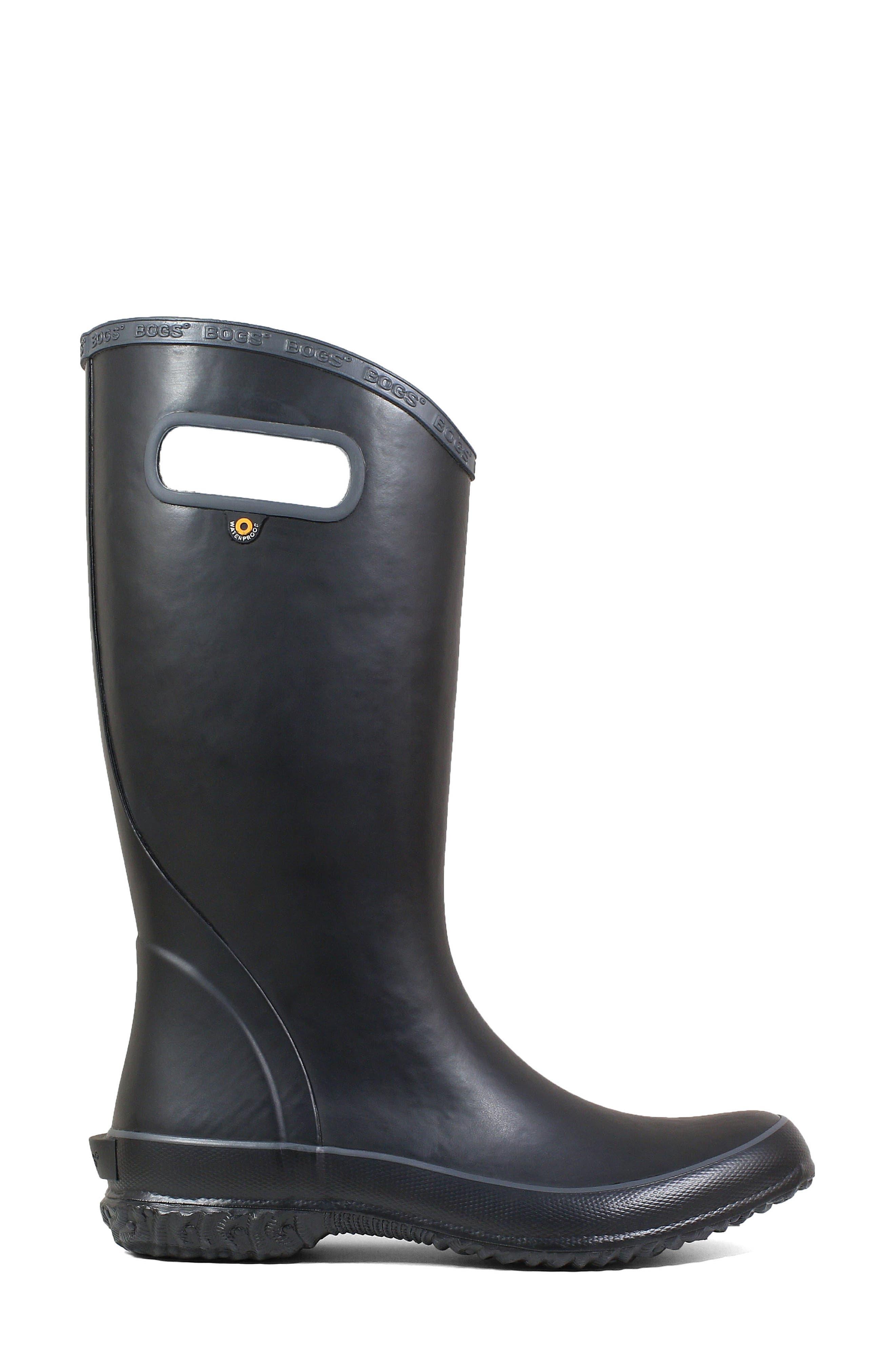 Classic Tall Waterproof Rain Boot,                             Alternate thumbnail 3, color,                             BLACK RUBBER