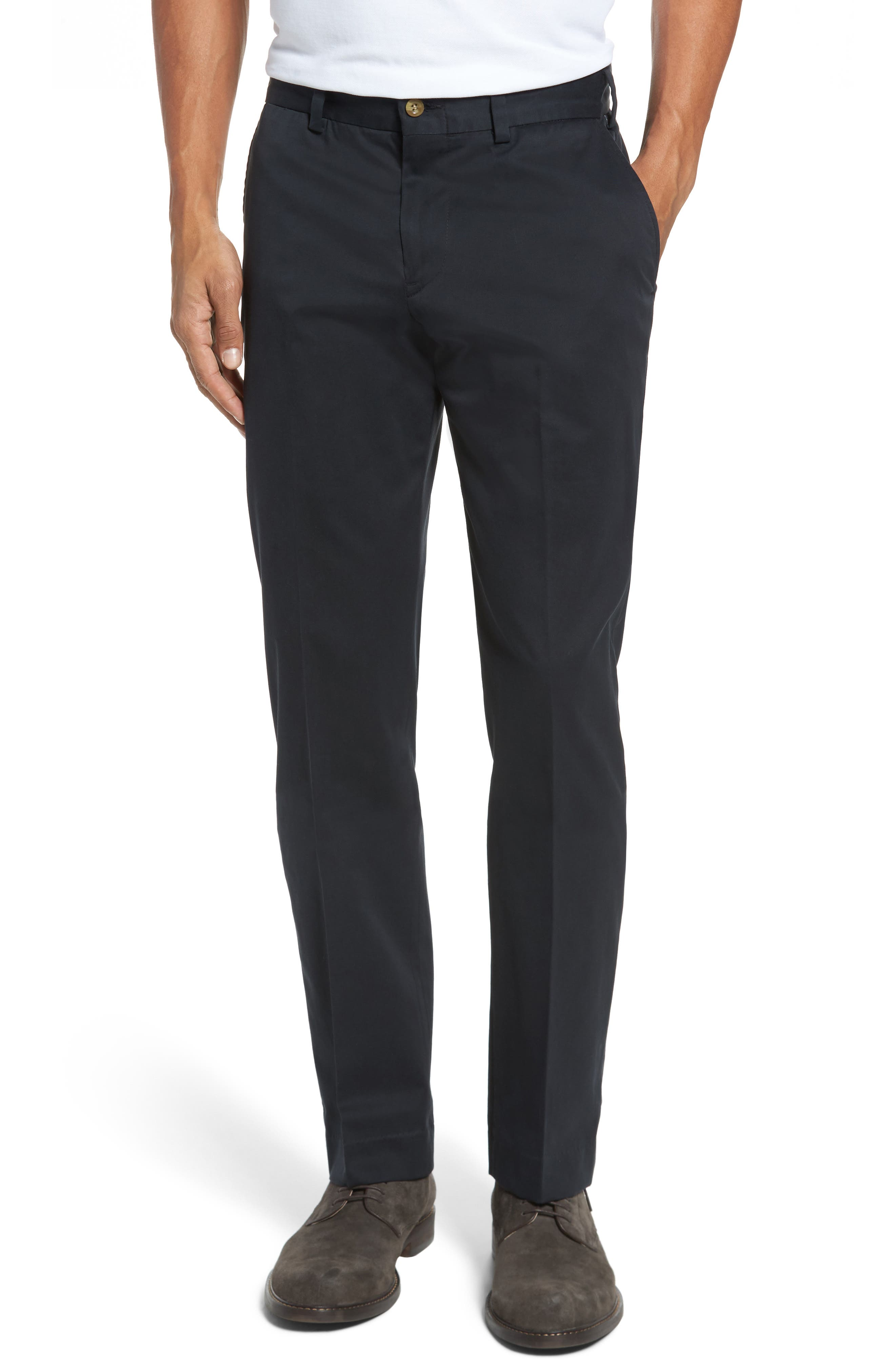 Straight Fit Chamois Cloth Pants,                         Main,                         color, BLACK