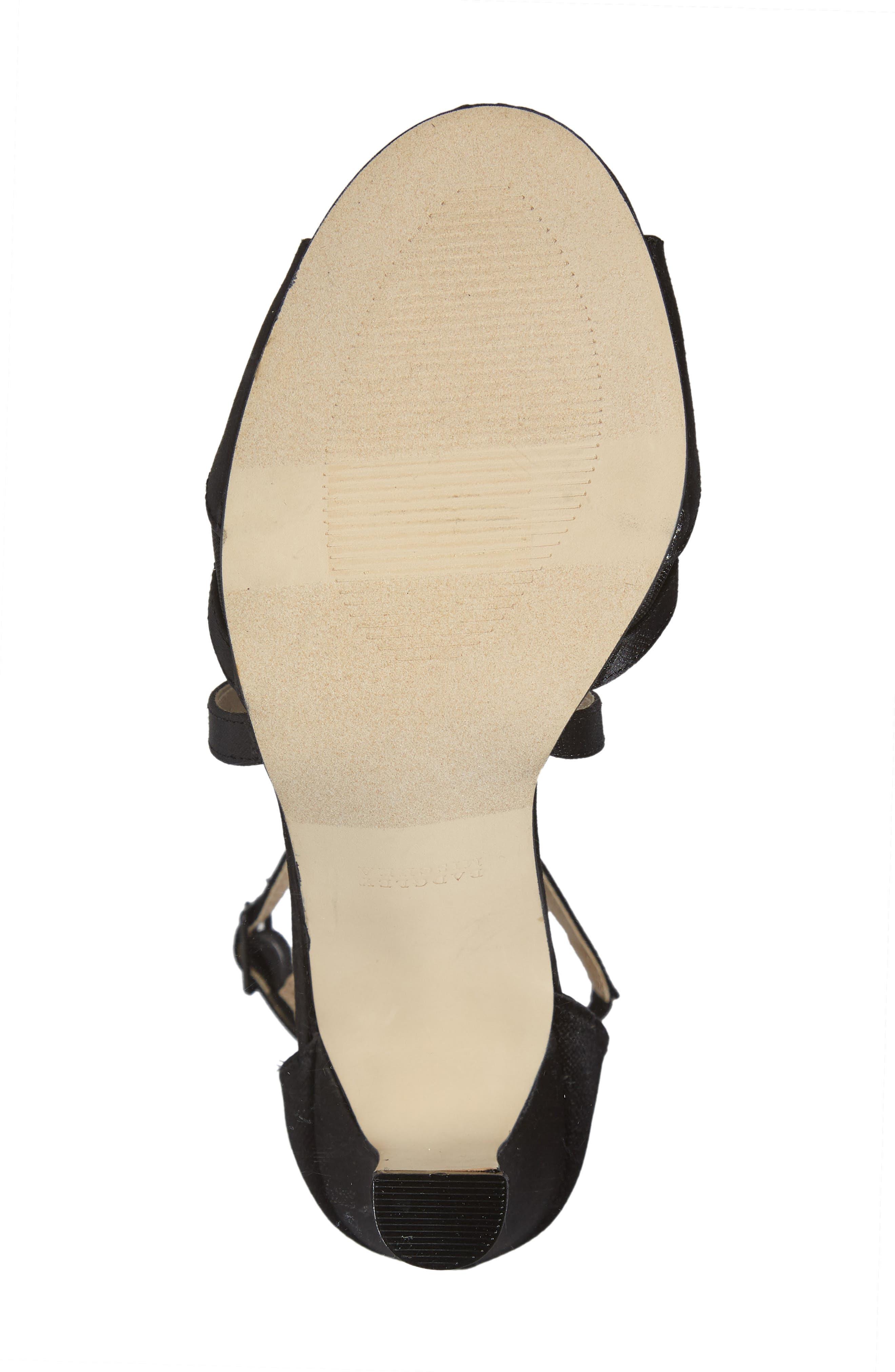 Badgley Mischka Kandall Hannah Embellished Cross Strap Sandal,                             Alternate thumbnail 6, color,                             BLACK SATIN