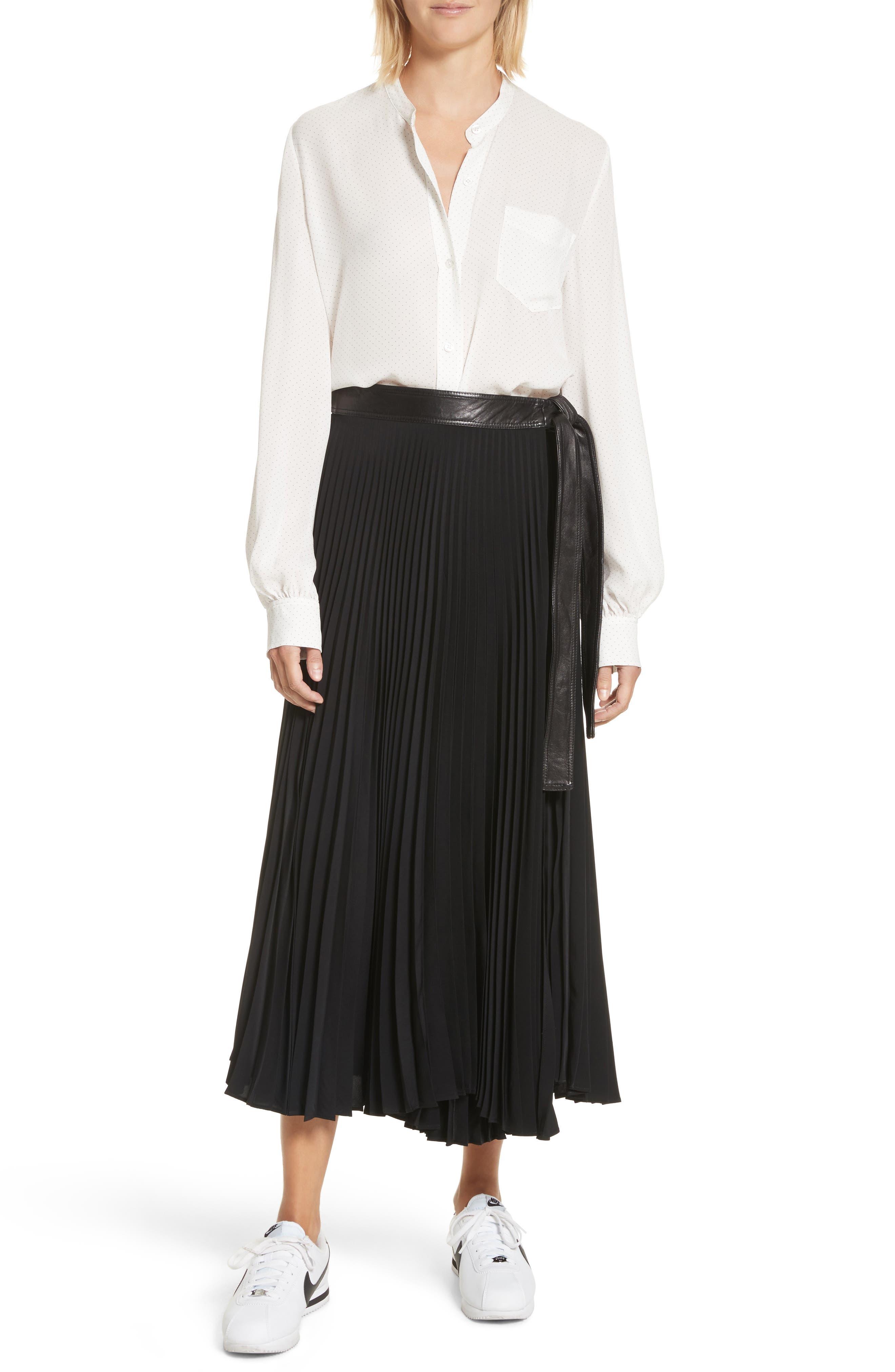 Anika Leather Trim Pleated Midi Skirt,                             Alternate thumbnail 6, color,                             001