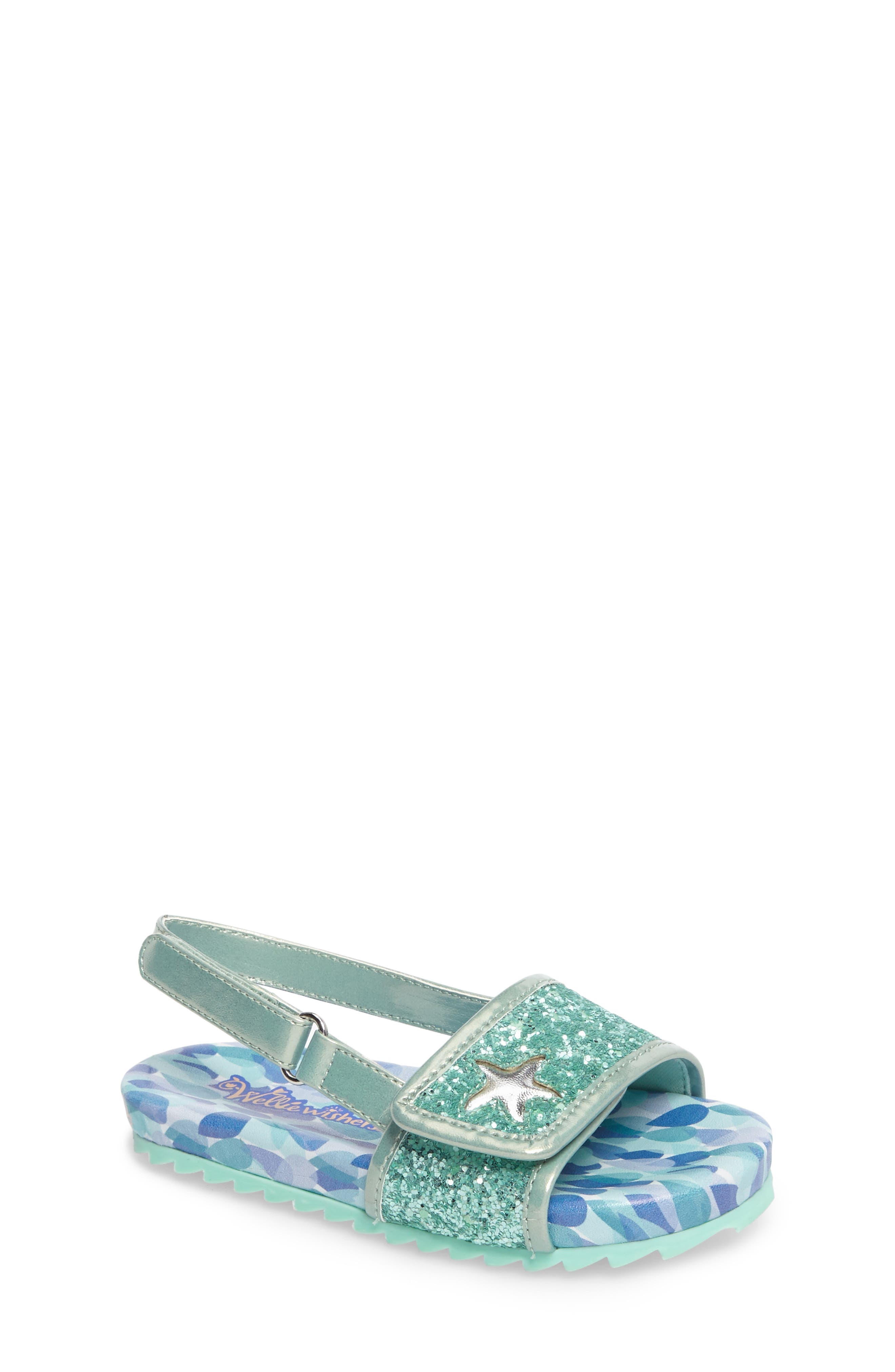 WELLIEWISHERS FROM AMERICAN GIRL,                             Camille Raindrop Strap Sandal,                             Main thumbnail 1, color,                             300