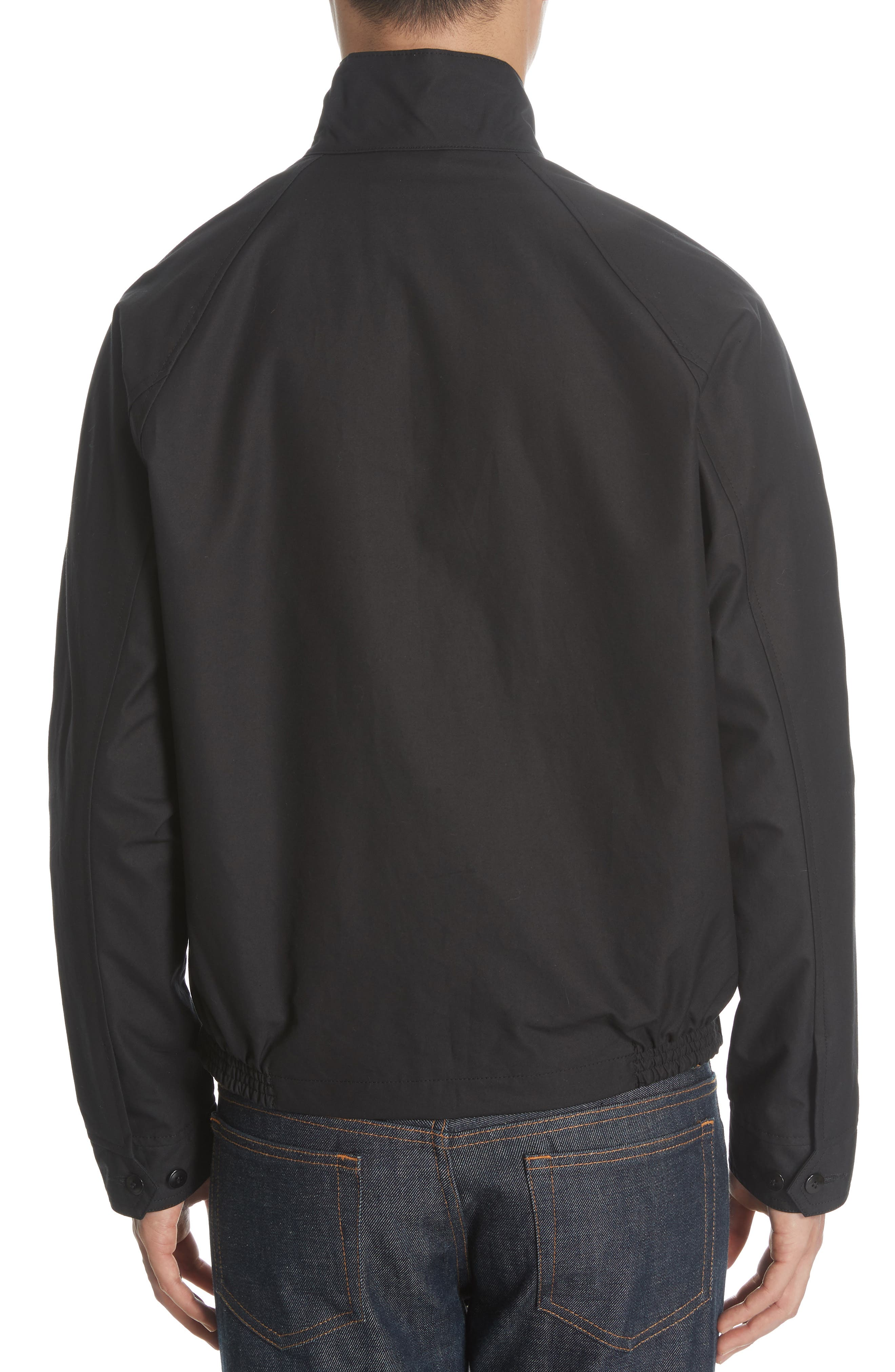 Harrington Waxed Cotton Jacket,                             Alternate thumbnail 3, color,                             BLACK