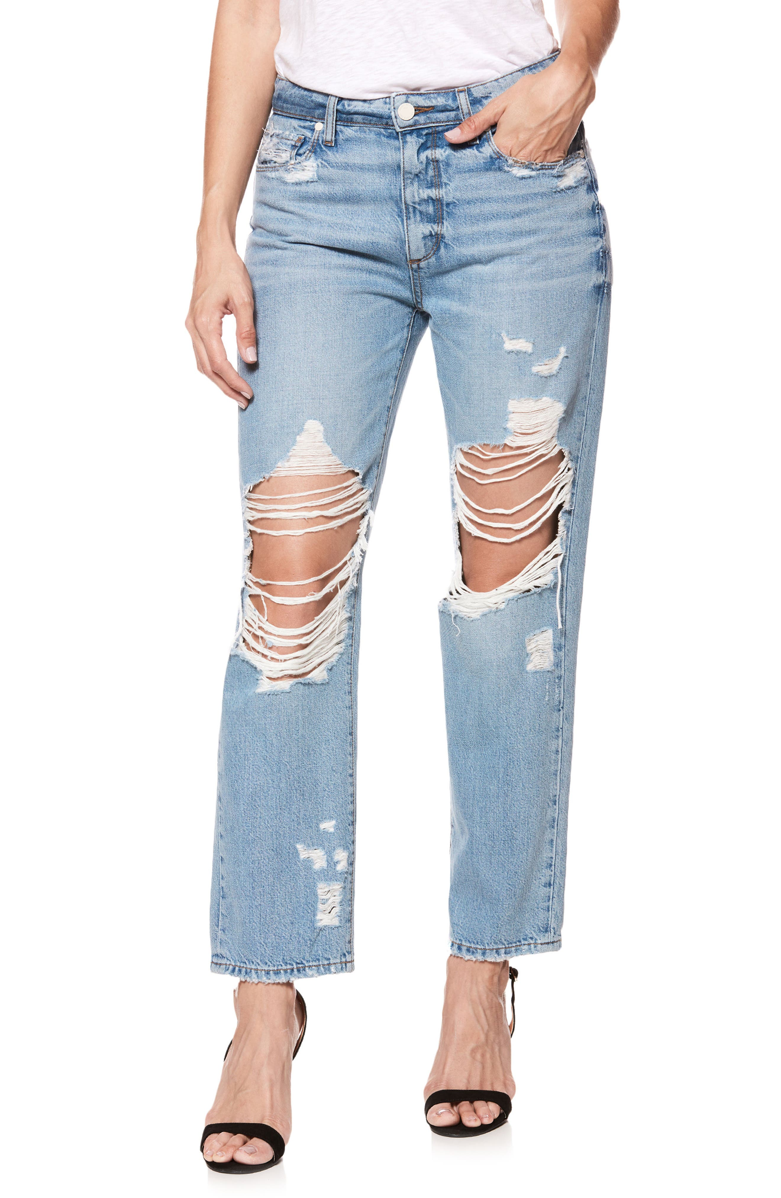 Noella Ripped Straight Leg Jeans,                         Main,                         color, 400
