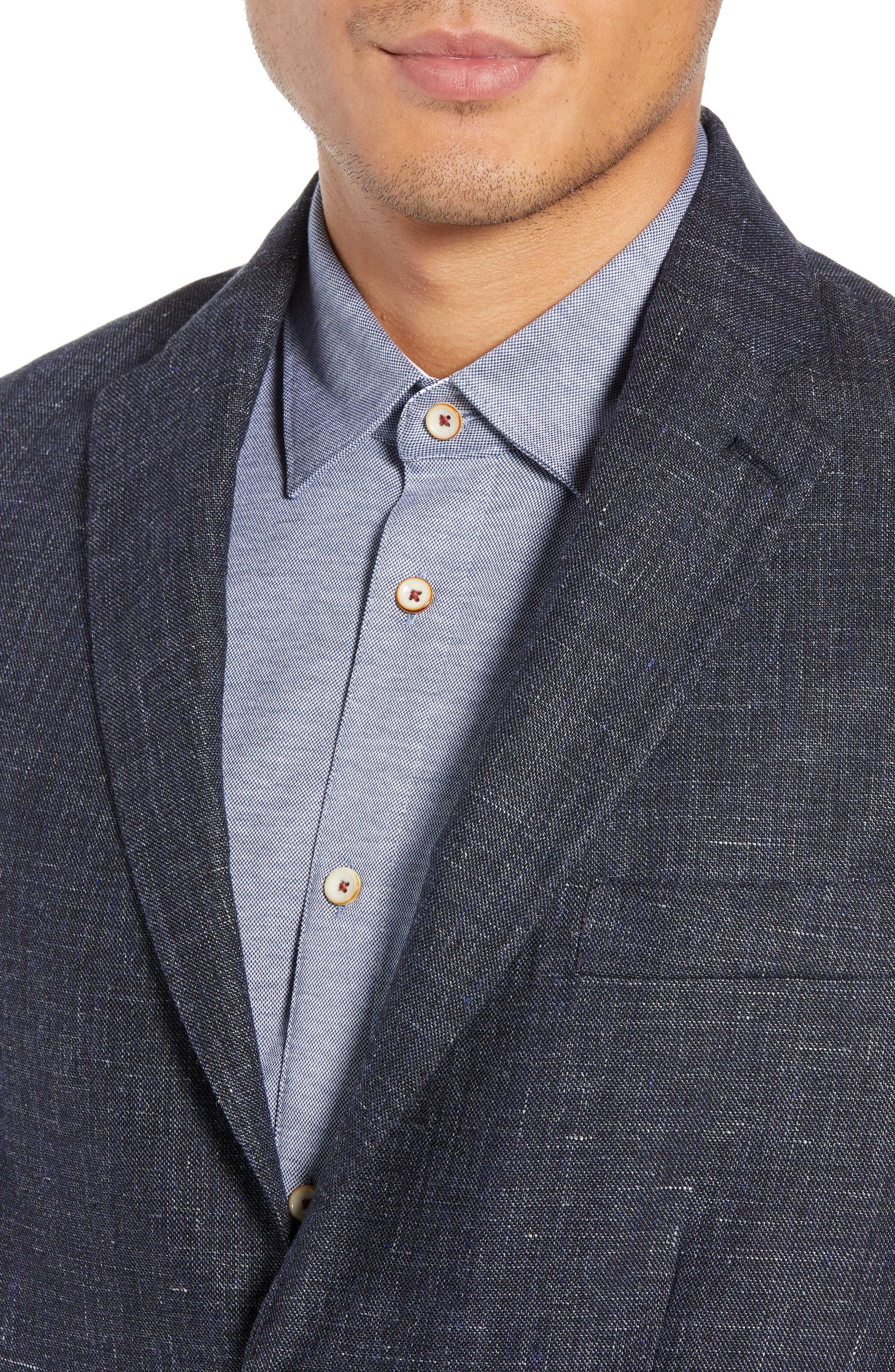 Slim Fit Unconstructed Wool & Linen Blazer,                             Alternate thumbnail 4, color,                             410