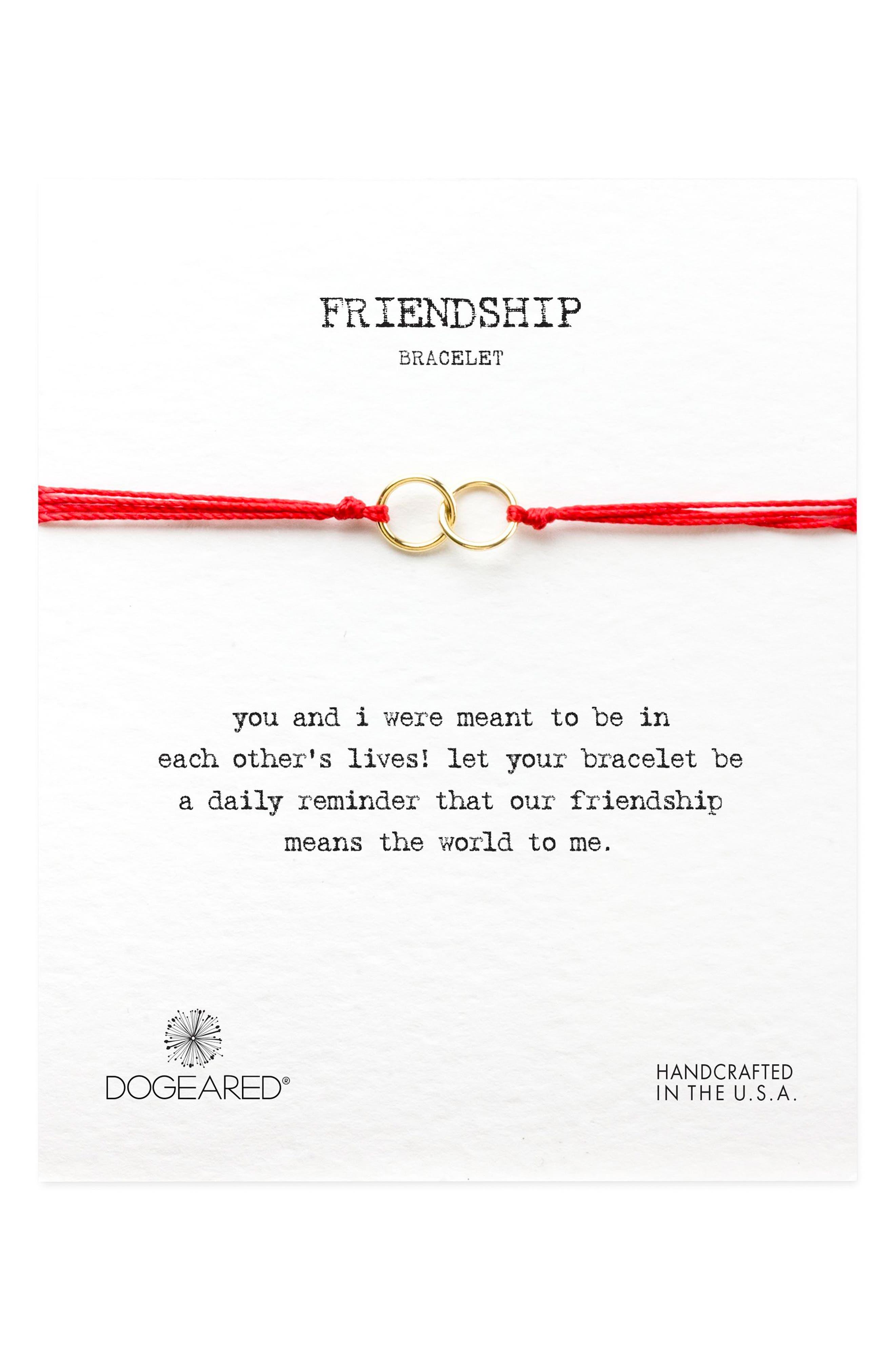 Double Linked Friendship Bracelet,                         Main,                         color, RED / GOLD