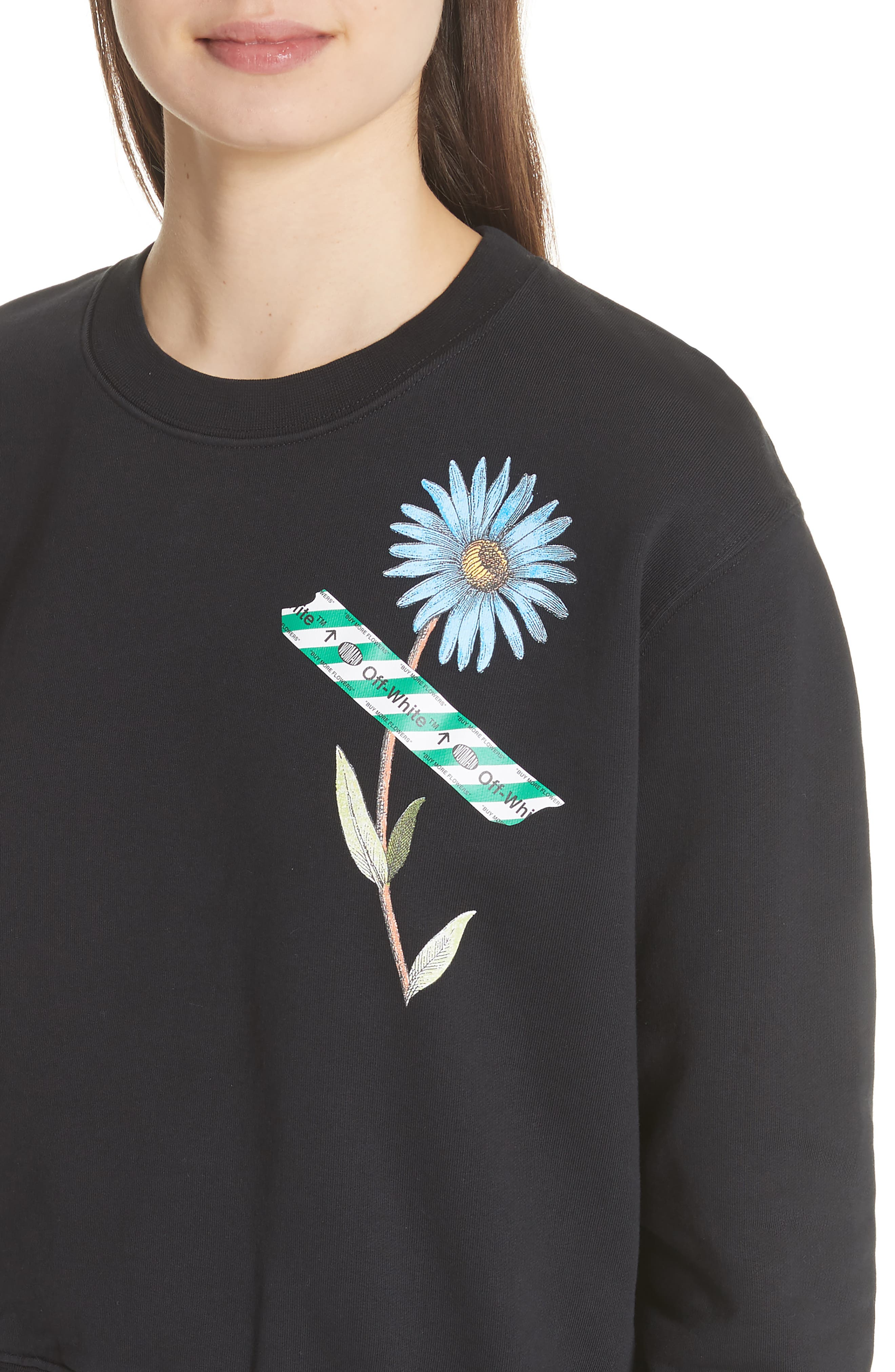 Flower Tape Crop Sweatshirt,                             Alternate thumbnail 4, color,                             001