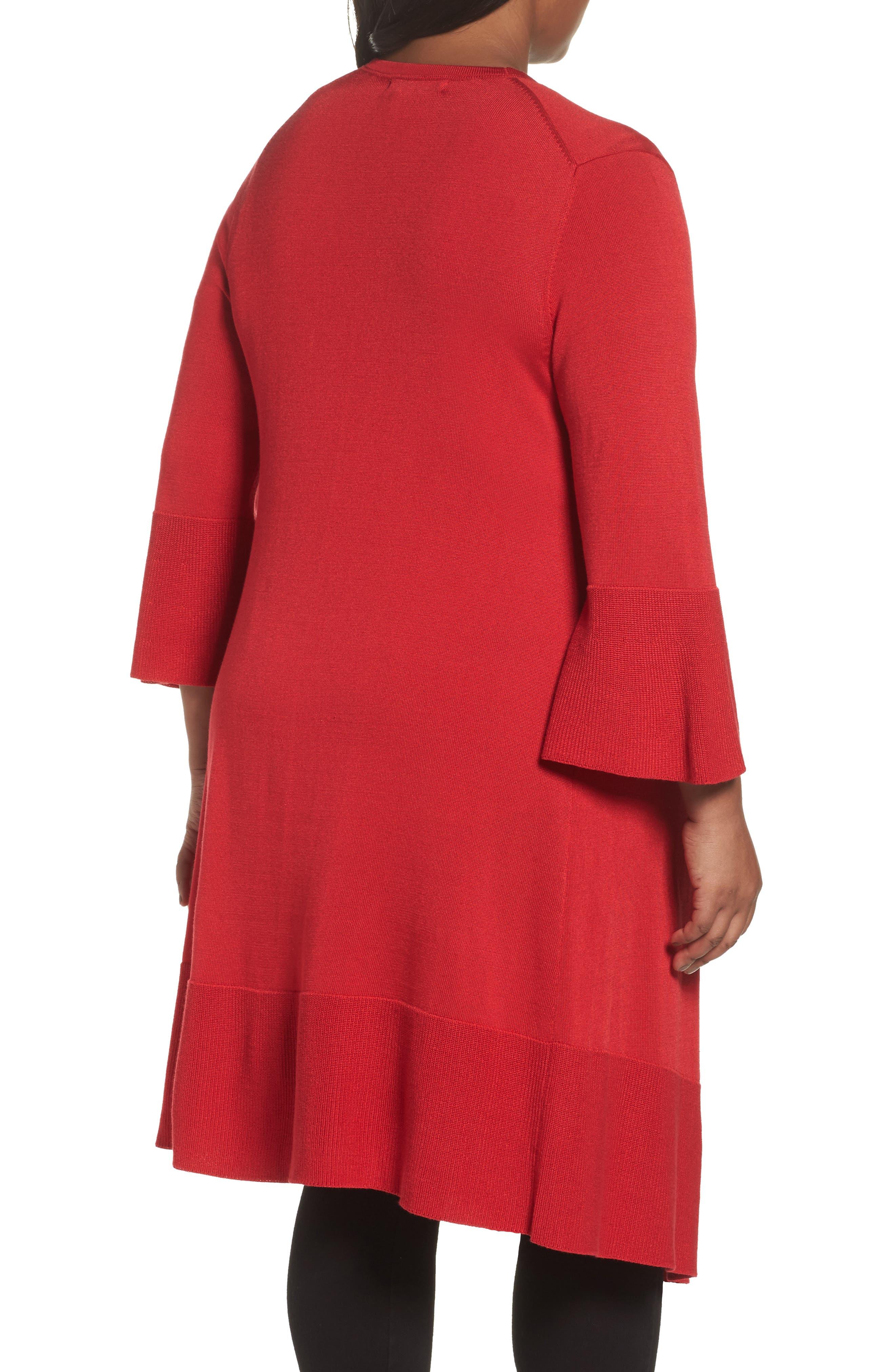 Mila Bell Sleeve Long Cardigan,                             Alternate thumbnail 2, color,                             SCARLET