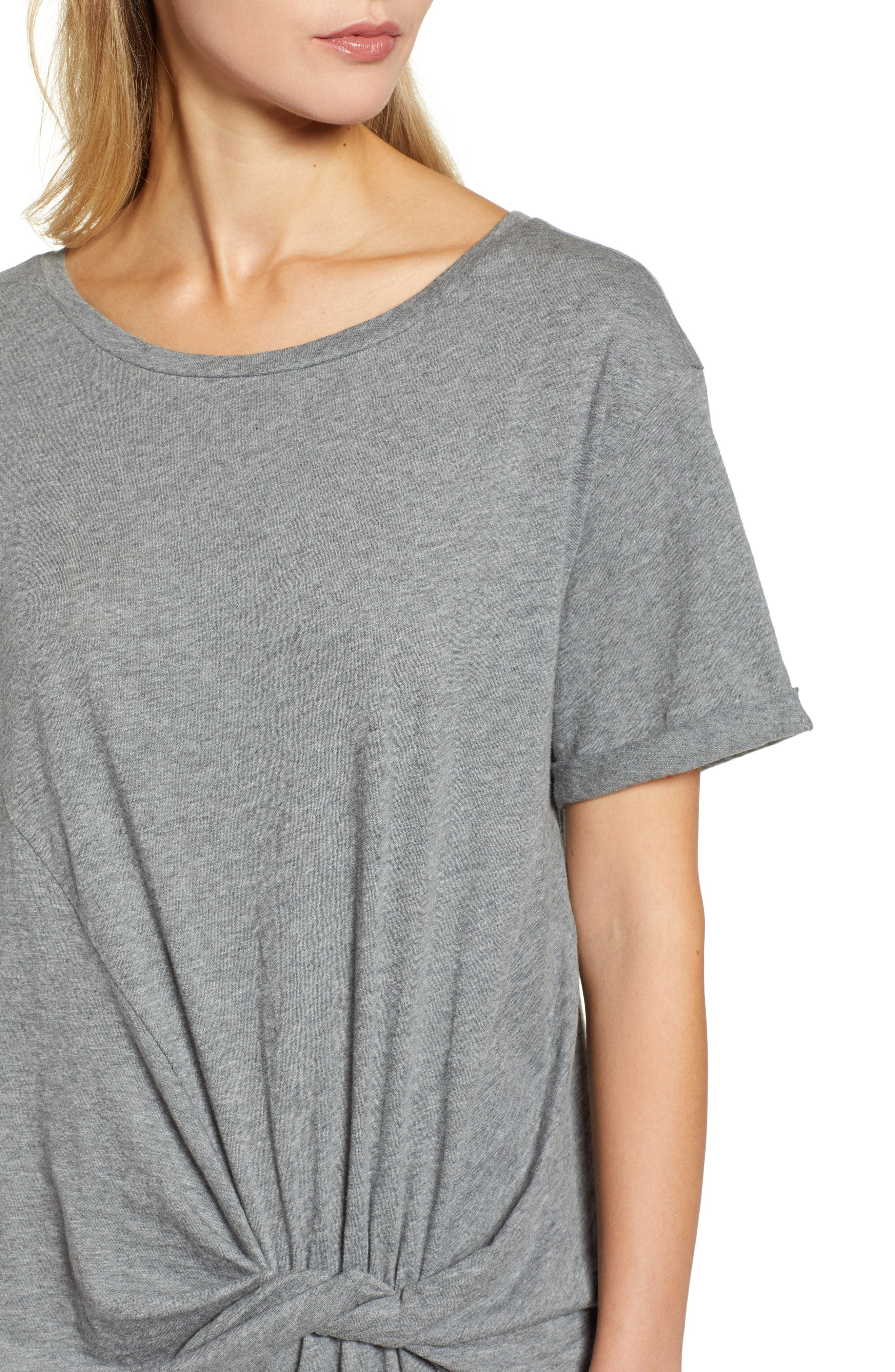 Knot Front T-Shirt Dress,                             Alternate thumbnail 4, color,                             GREY DARK HEATHER