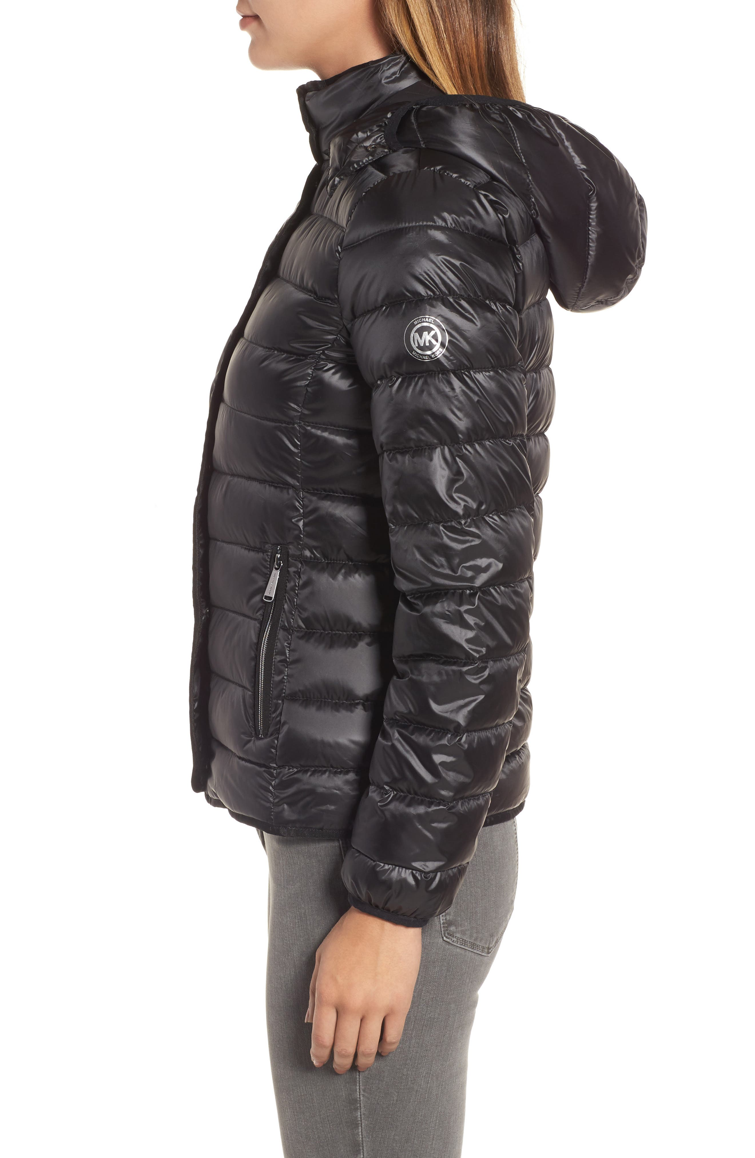 Packable Insulated Jacket with Removable Hood,                             Alternate thumbnail 3, color,                             001