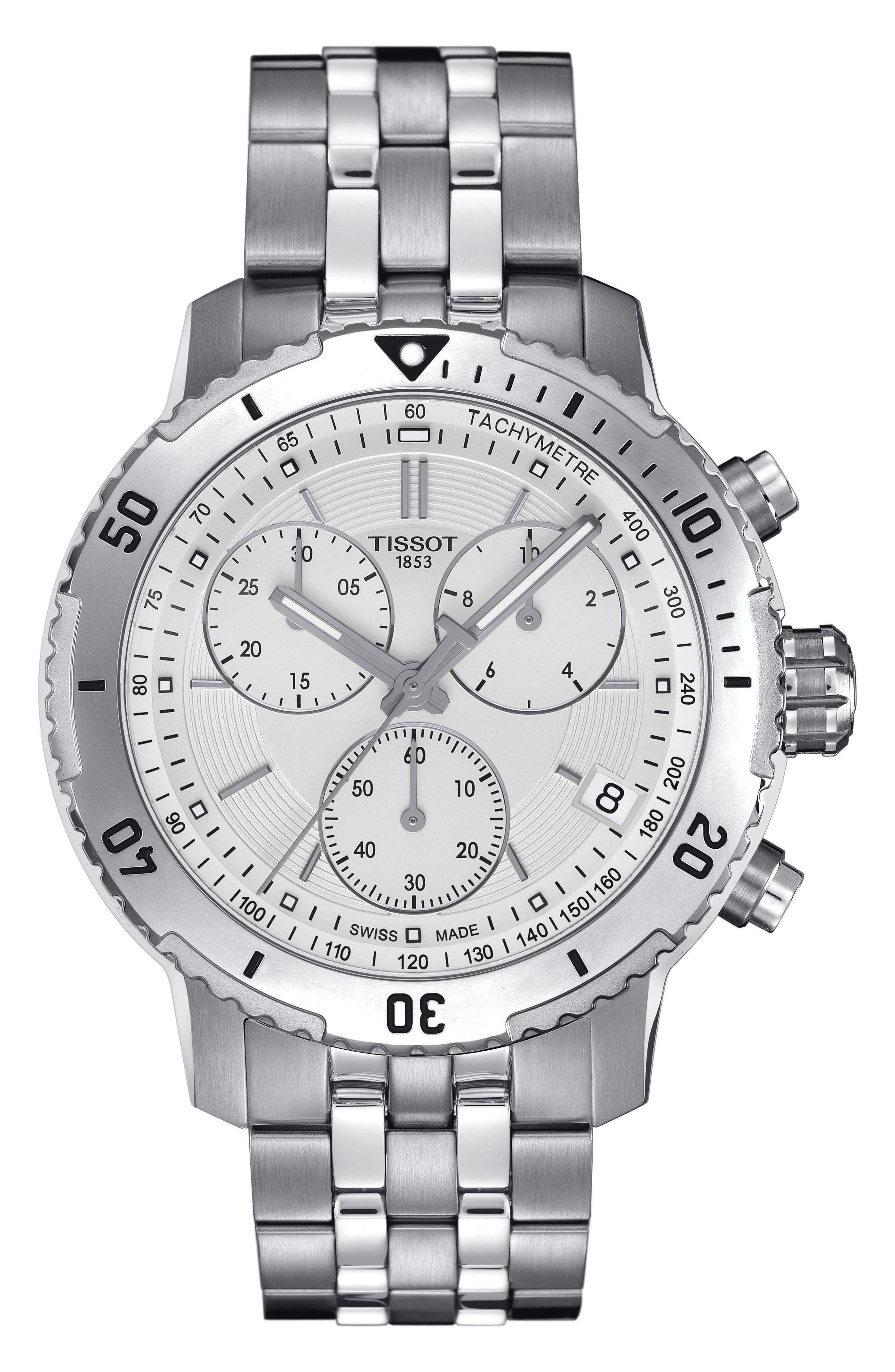 PRS200 Chronograph Bracelet Watch, 41mm,                             Main thumbnail 1, color,                             SILVER