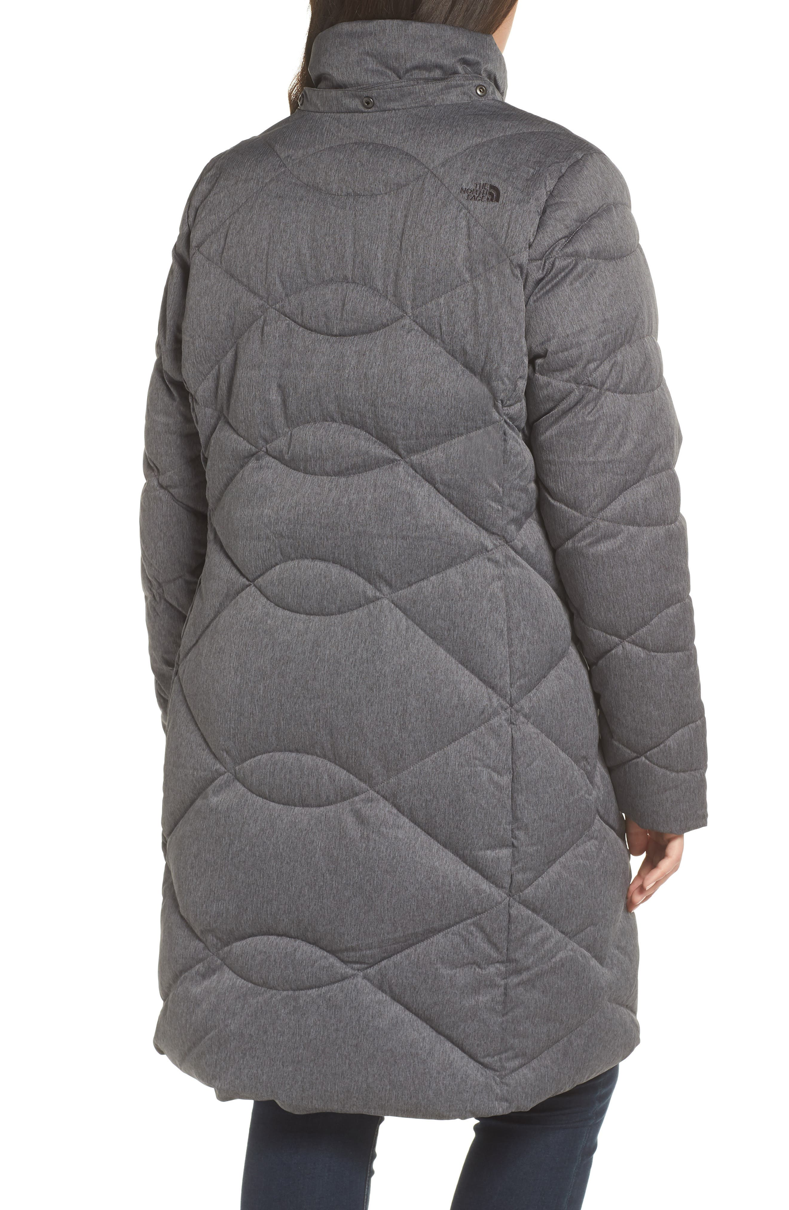 Miss Metro II Water Repellent 550 Fill Power Down Hooded Parka,                             Alternate thumbnail 9, color,                             TNF DARK GREY HEATHER