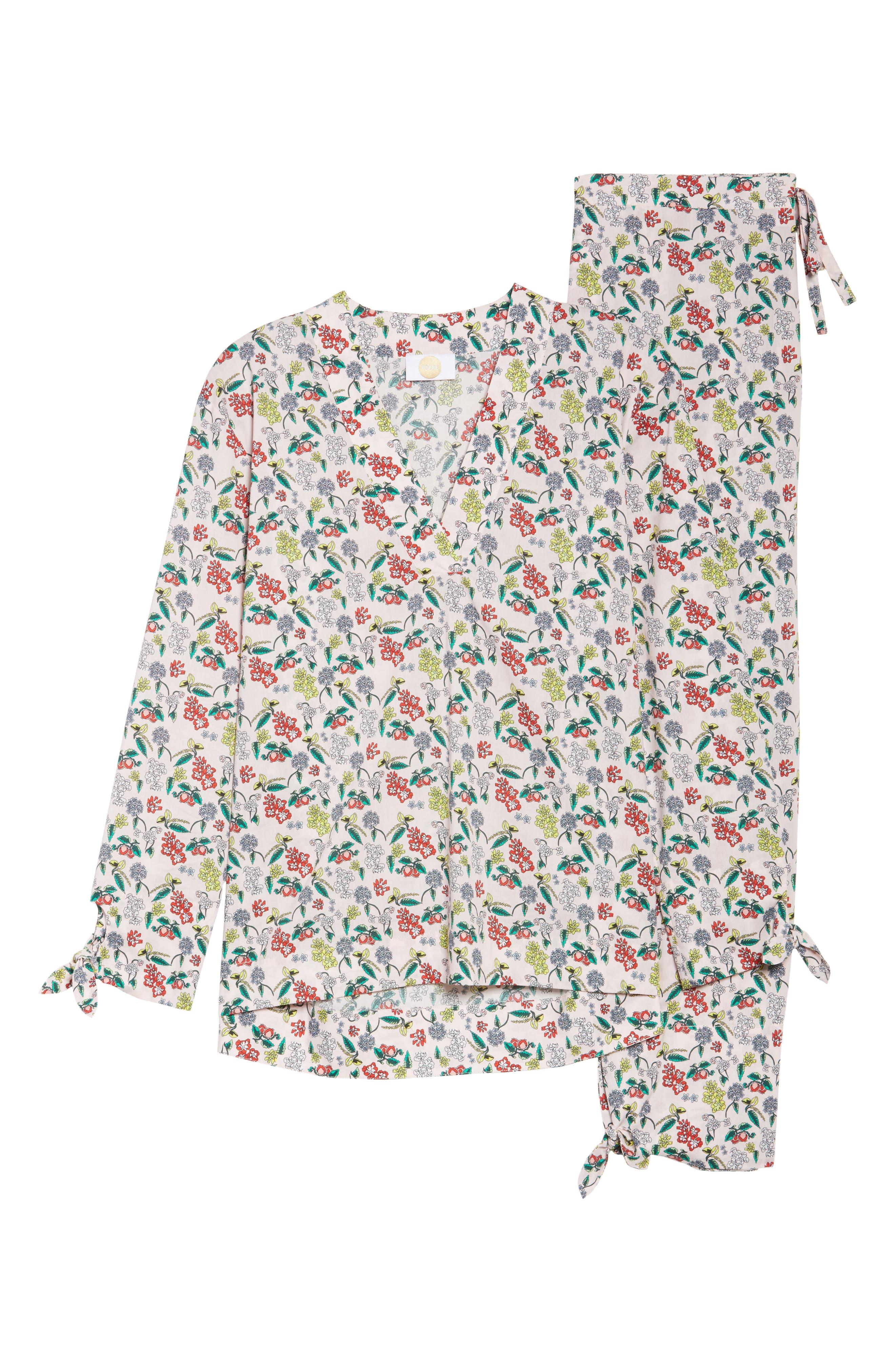 Print Cotton Poplin Pajamas,                             Alternate thumbnail 6, color,