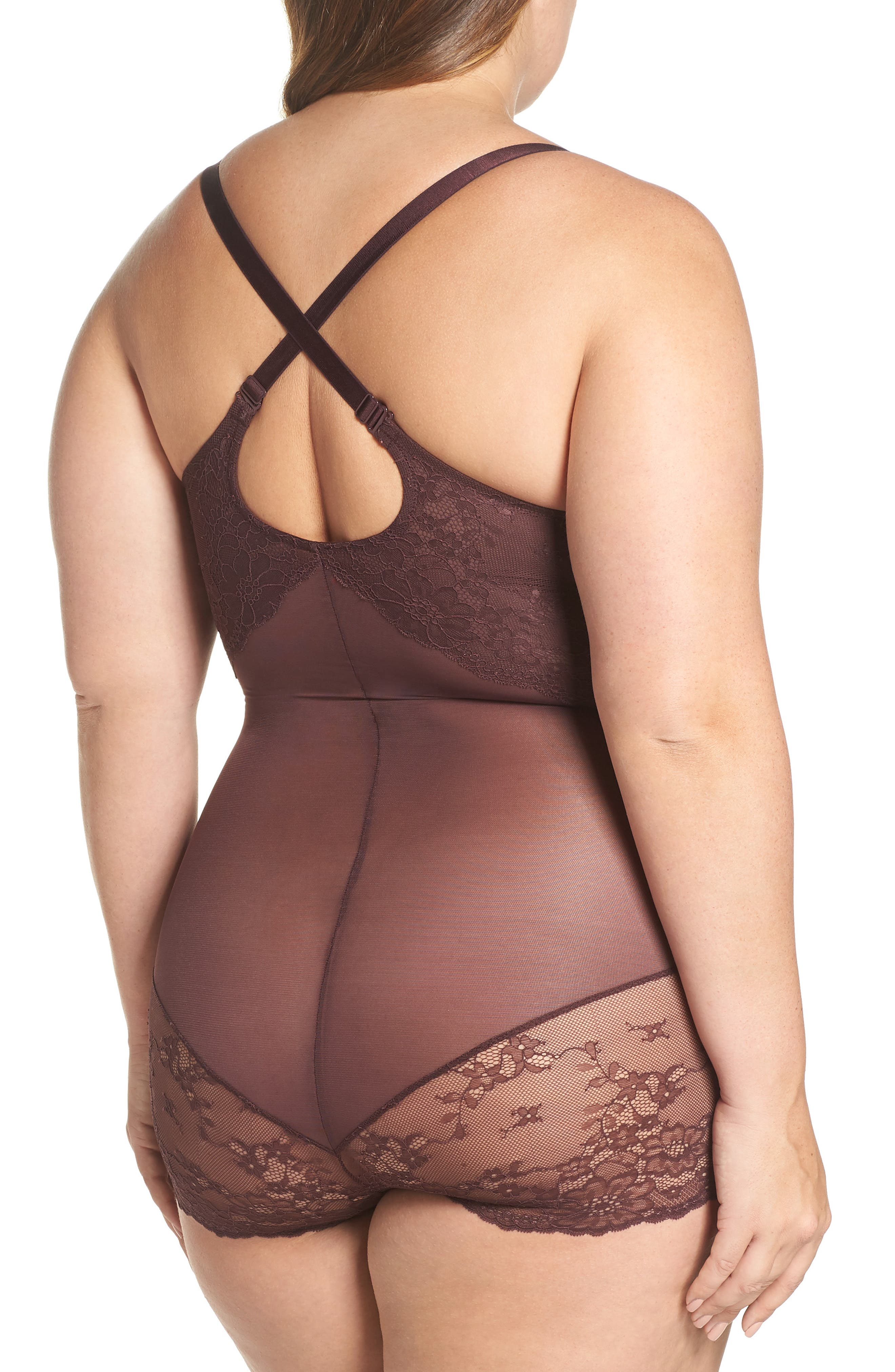 Spotlight On Lace Bodysuit,                             Alternate thumbnail 2, color,                             GARNET