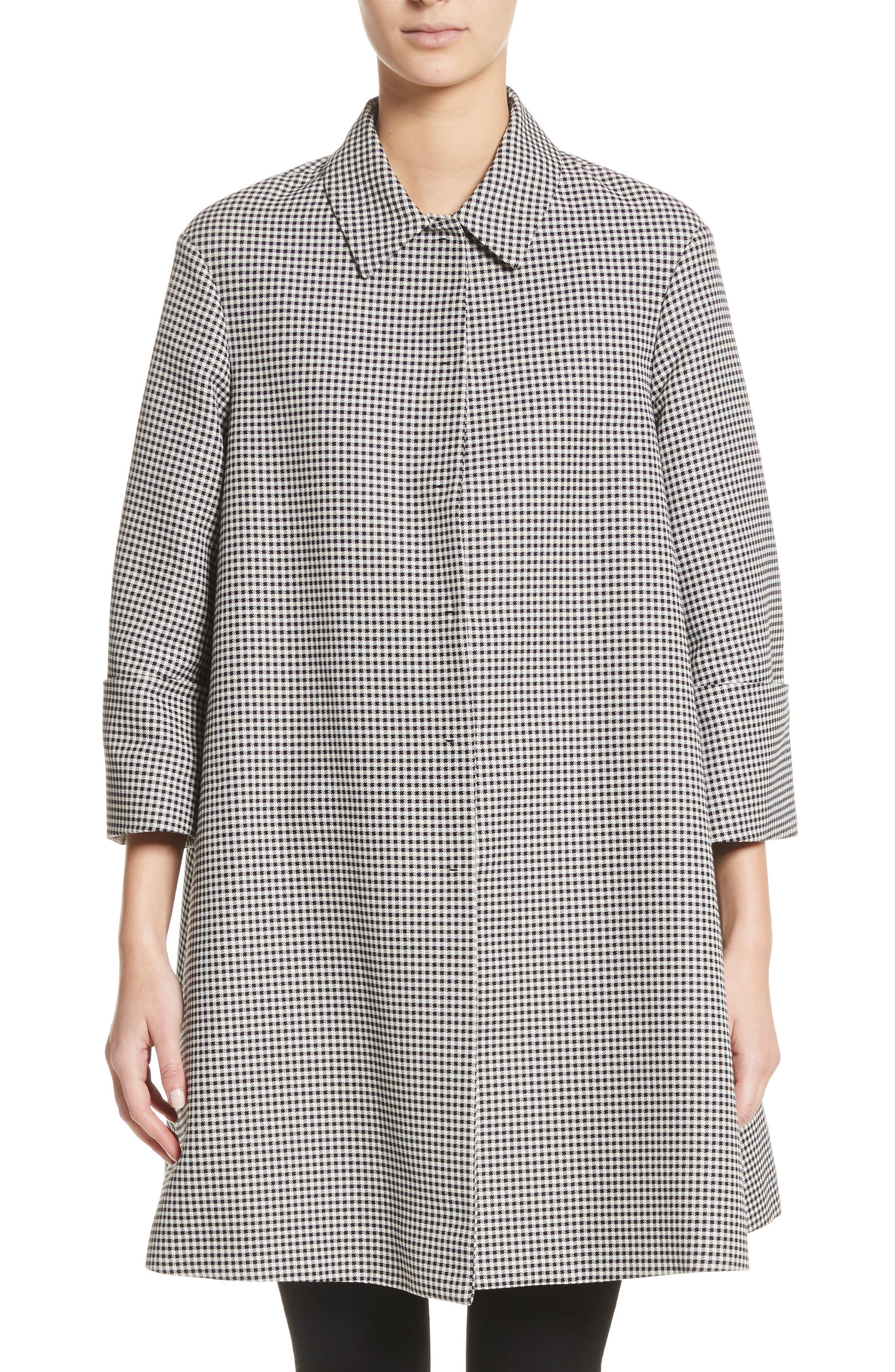 Gingham Swing Coat,                         Main,                         color,