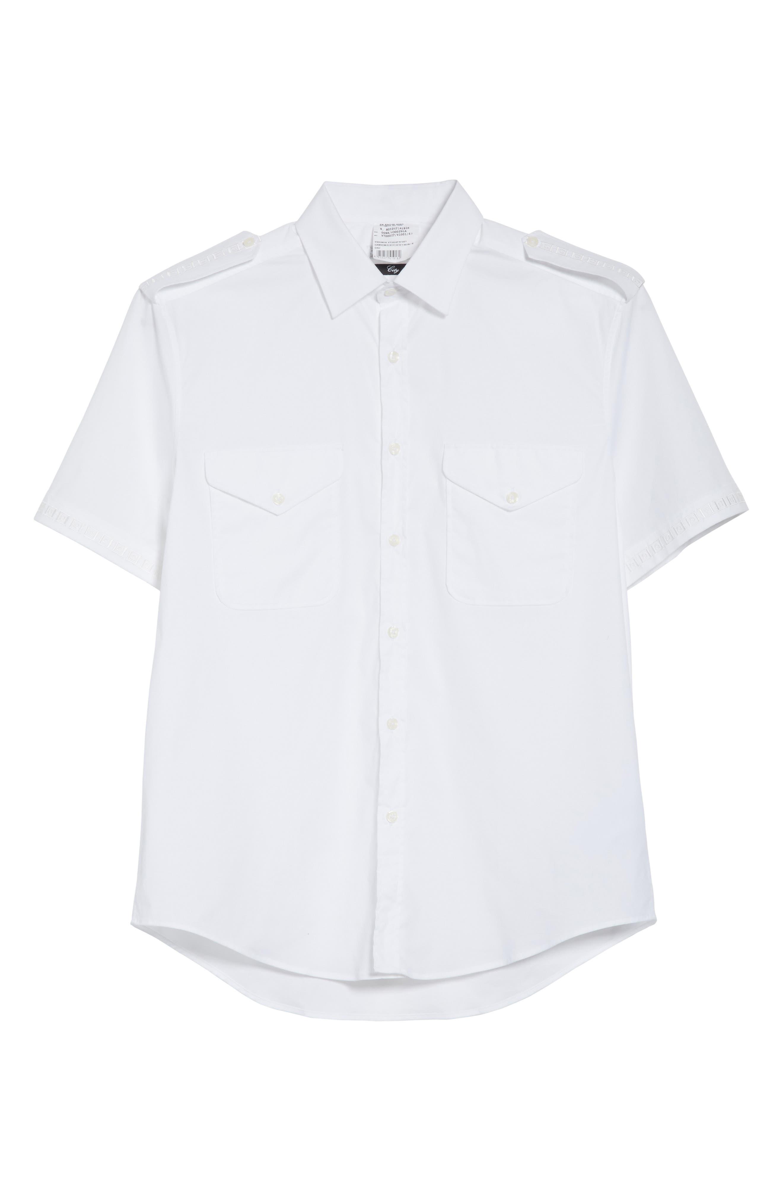 Short Sleeve Military Shirt,                             Alternate thumbnail 6, color,                             100