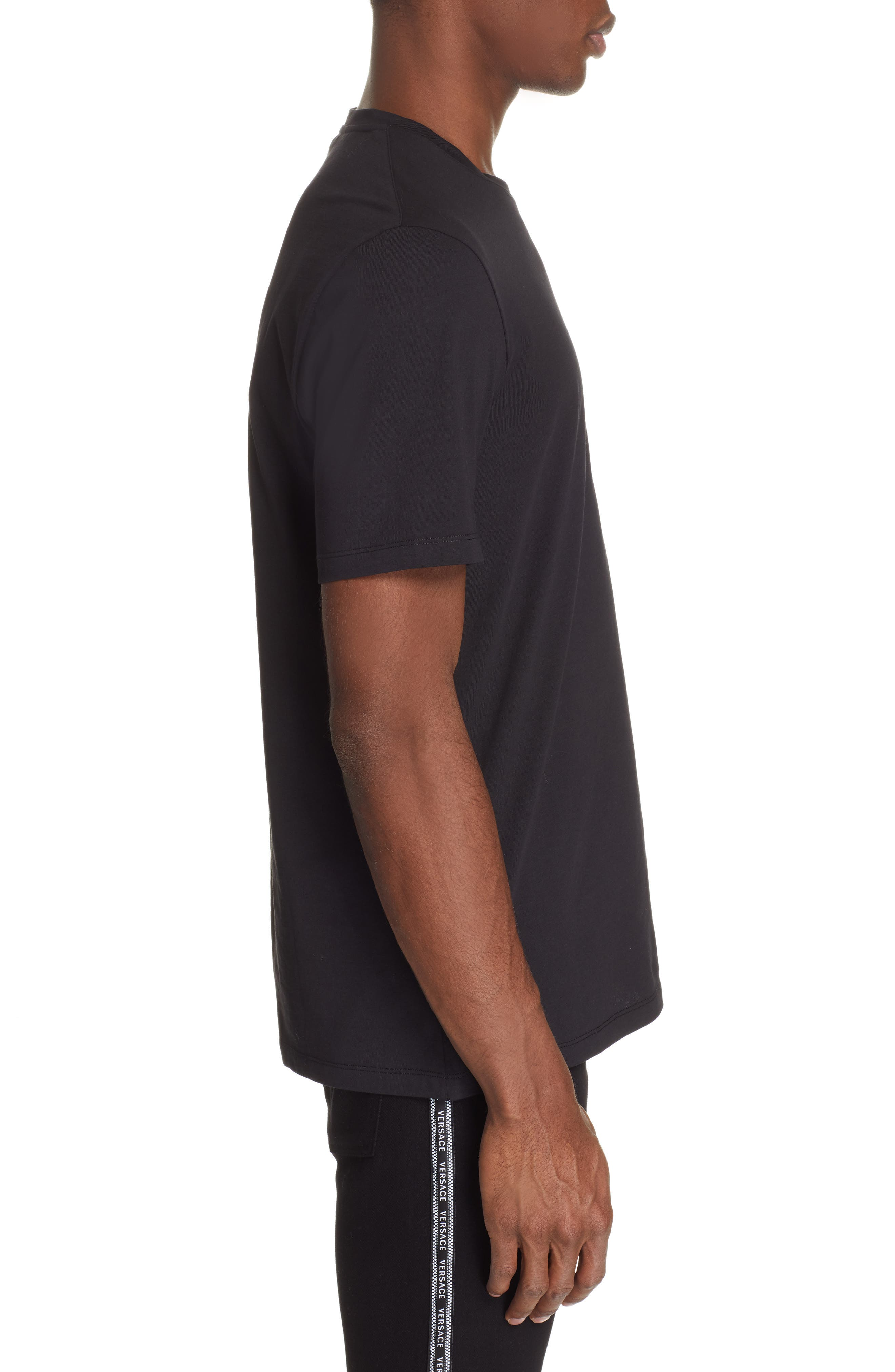 VERSACE COLLECTION,                             Half Medusa T-Shirt,                             Alternate thumbnail 3, color,                             BLACK