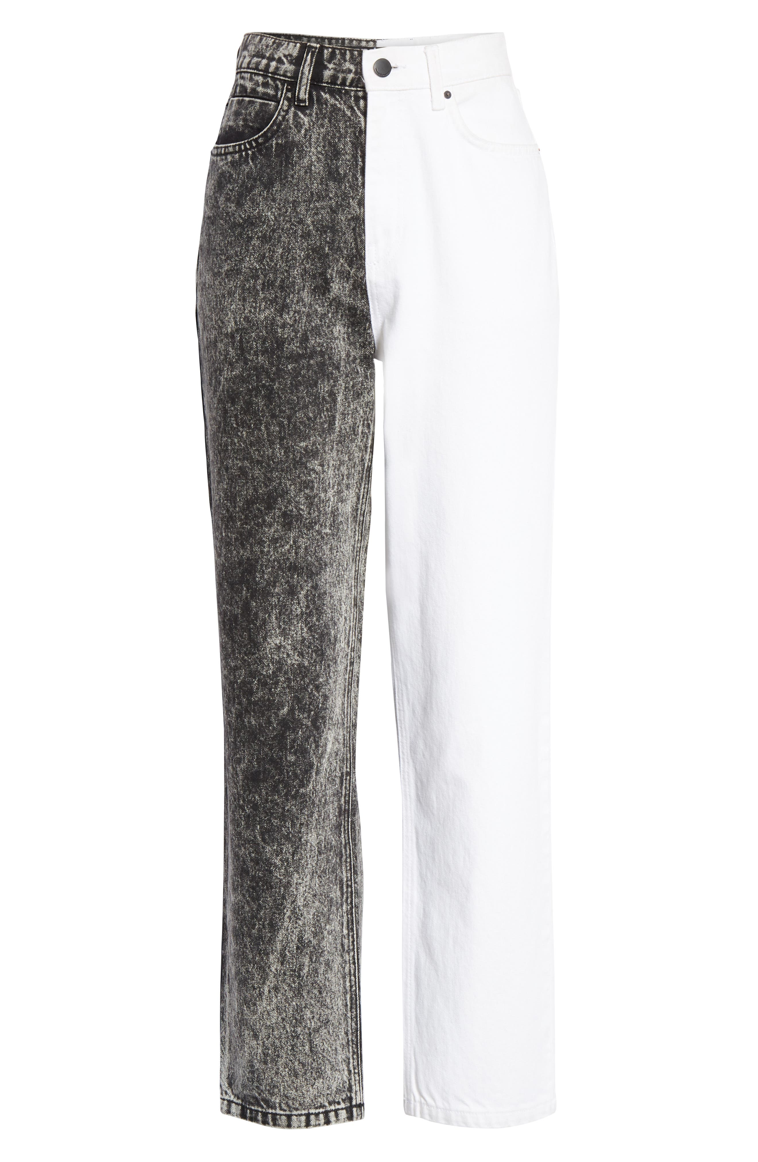 ALEXANDERWANG.T,                             Bluff Classic Bicolor Crop Jeans,                             Alternate thumbnail 6, color,                             MARBLED DARK GREY/ IVORY