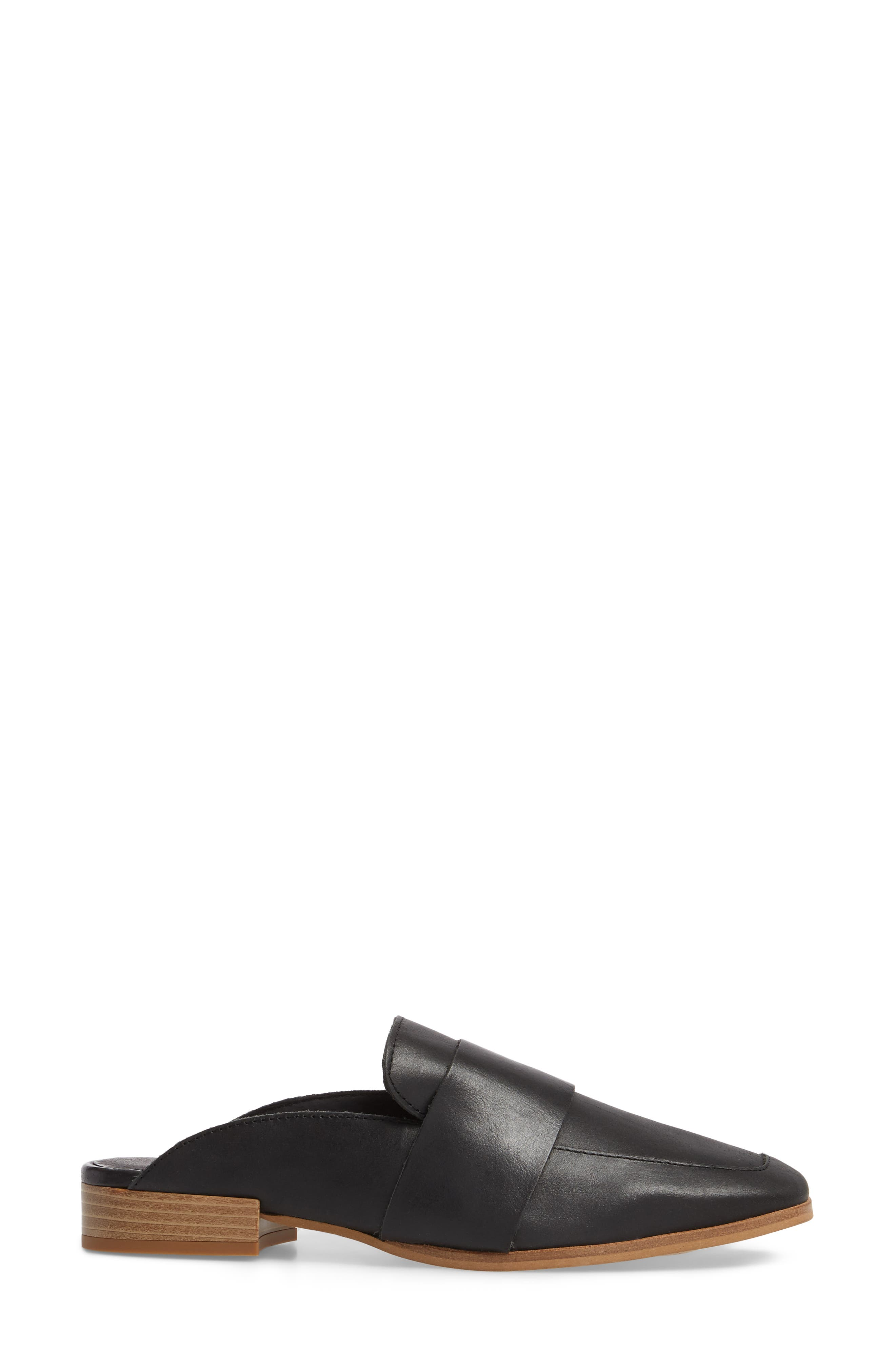 At Ease Loafer Mule,                             Alternate thumbnail 3, color,                             CARBON LEATHER