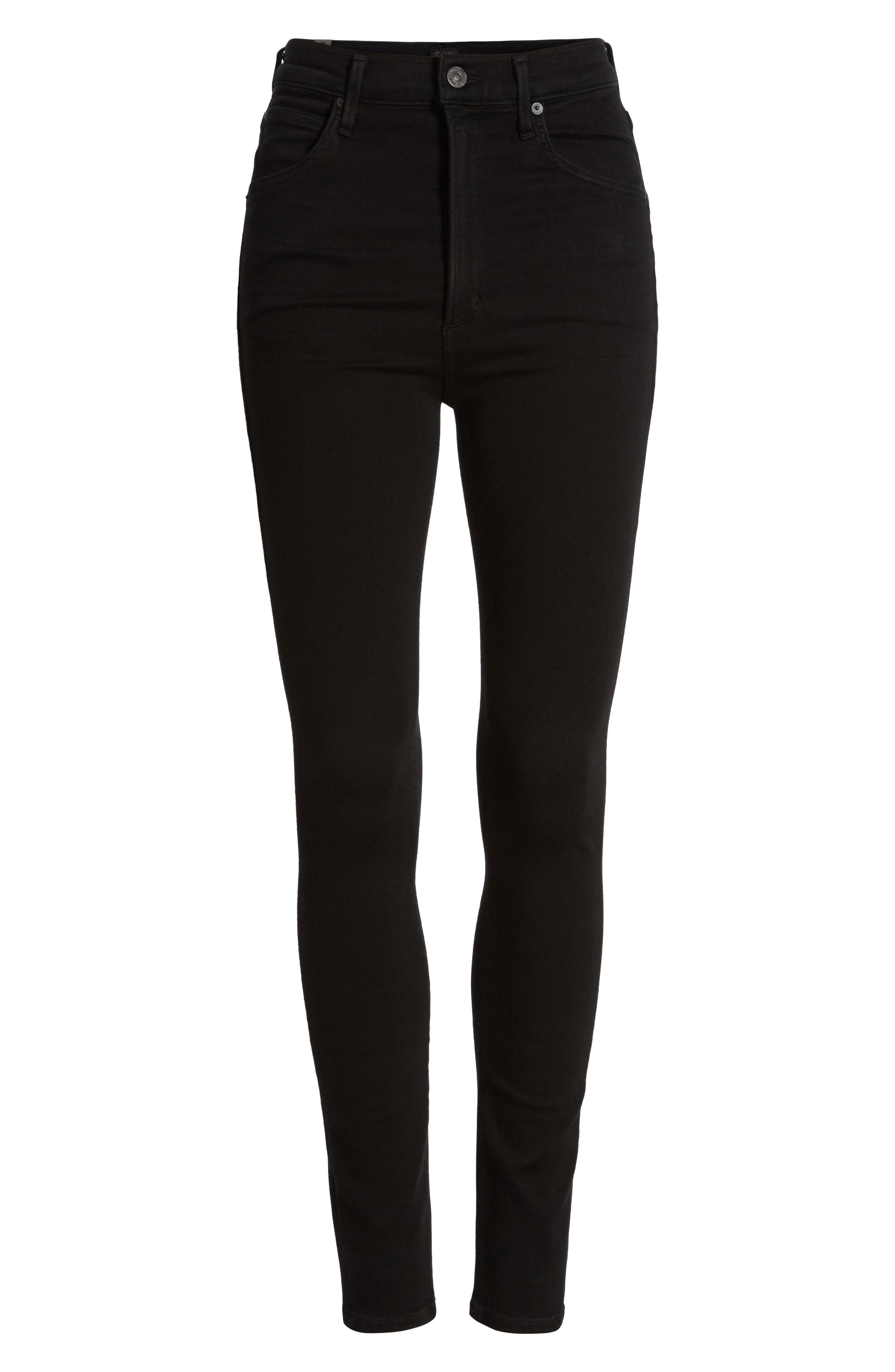 Chrissy High Waist Skinny Jeans,                             Alternate thumbnail 7, color,                             ALL BLACK