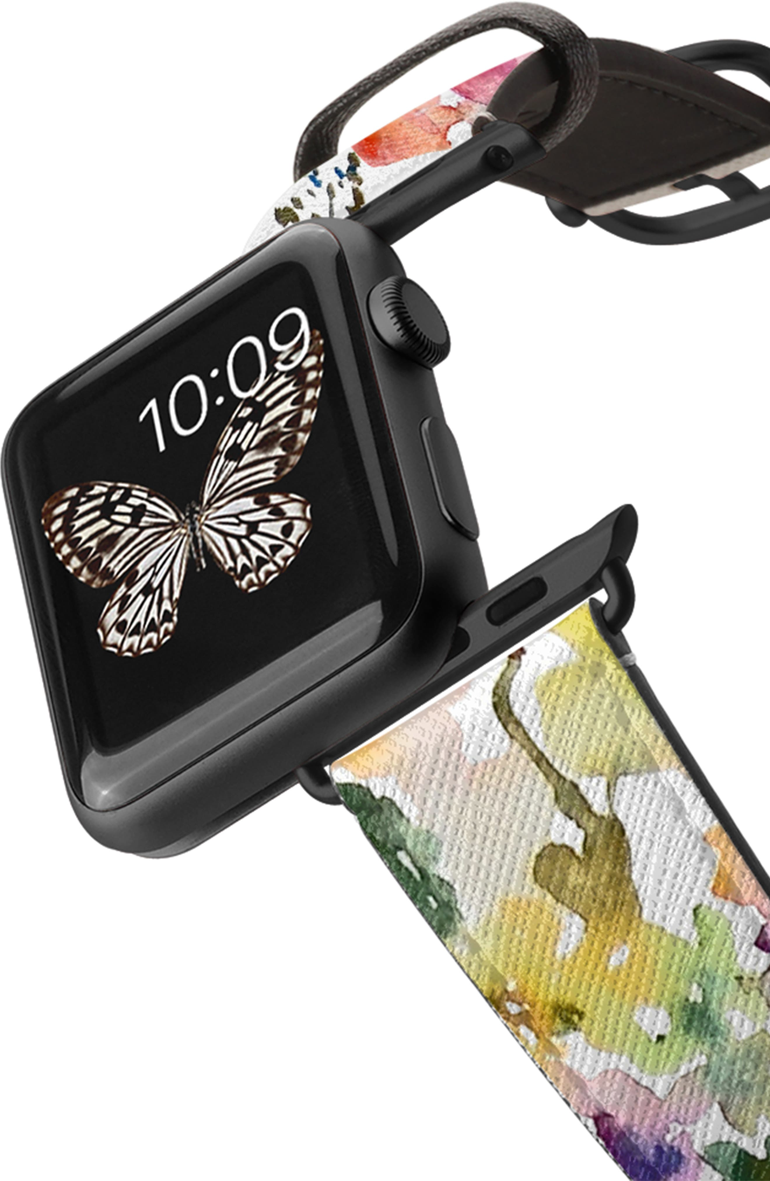 Saffiano From the Garden Faux Leather Apple Watch Strap,                             Alternate thumbnail 2, color,                             WHITE/ BLACK